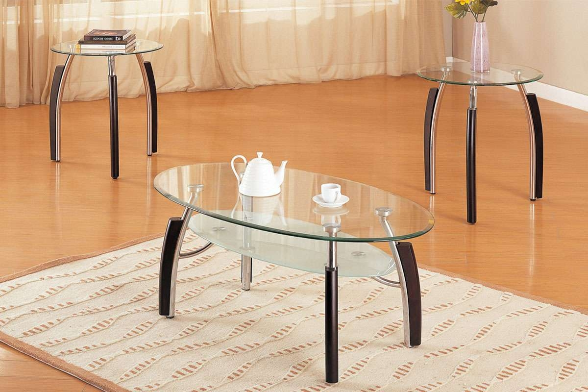 3 Piece Coffee Table Set, Glass Oval Top – Huntington Beach Furniture Within 2018 2 Piece Coffee Table Sets (Gallery 12 of 20)