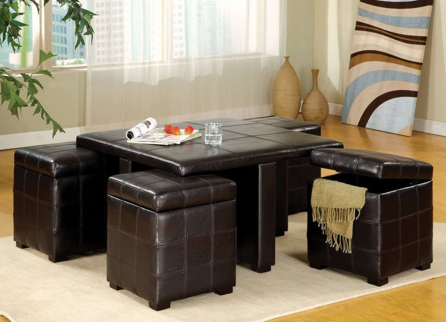 36 Top Brown Leather Ottoman Coffee Tables For Most Recent Brown Leather Ottoman Coffee Tables With Storages (View 11 of 20)