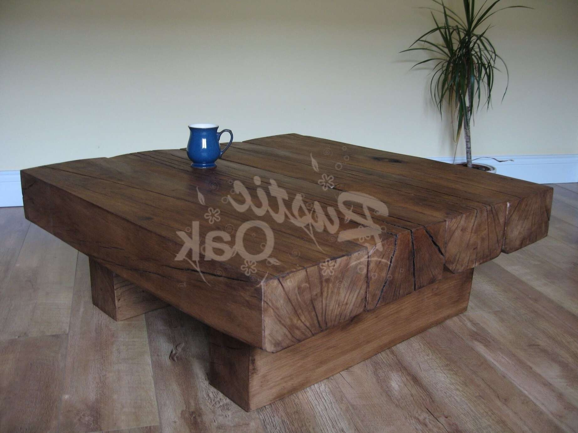 4 Beam Square Coffee Table – Rustic Oak Regarding Most Recently Released Oak Beam Coffee Tables (View 5 of 20)