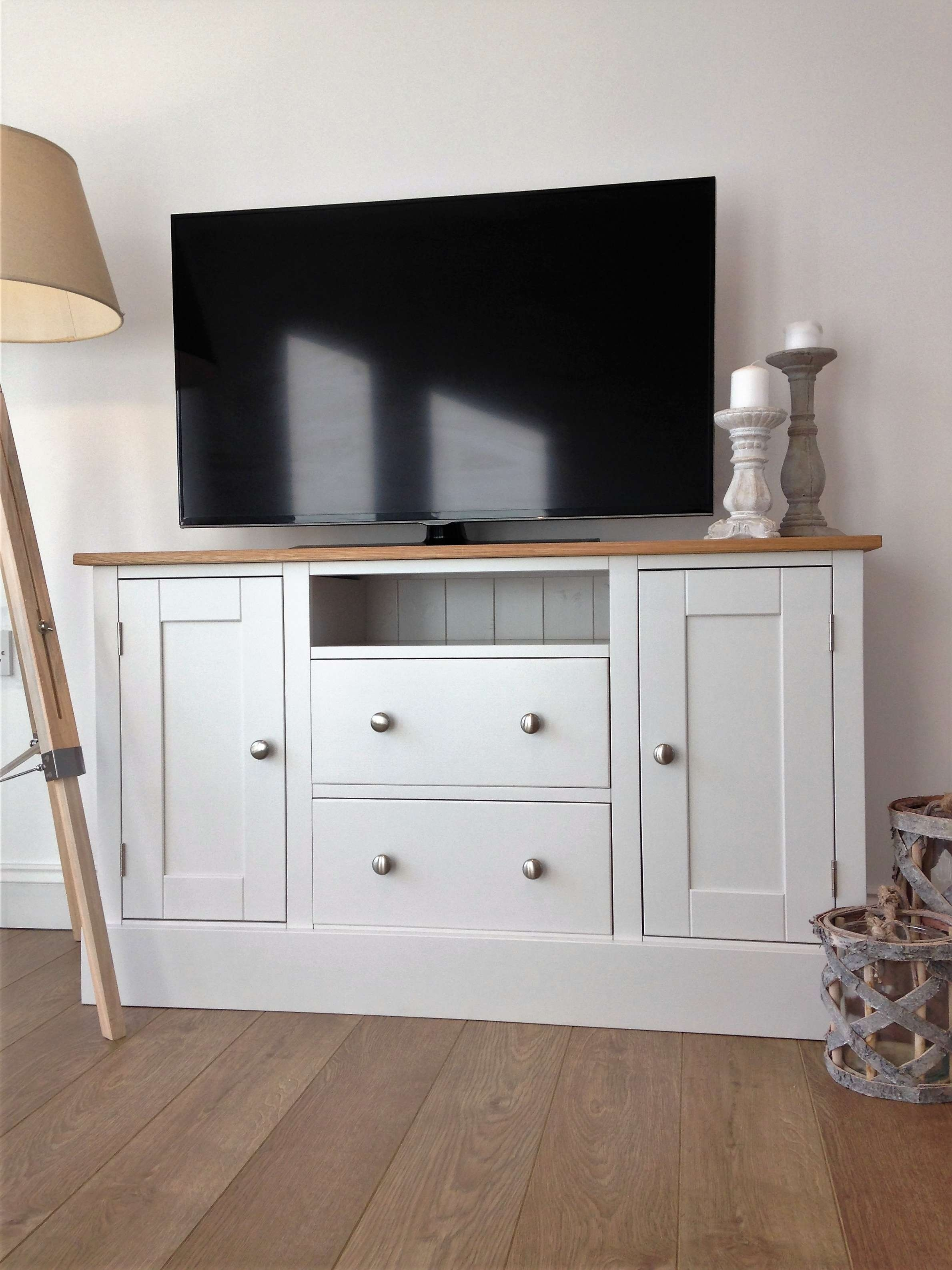 4Ft Painted Tv Cabinet Made Of Solid Oak & Pine – Nest At Number 20 With White Painted Tv Cabinets (View 1 of 20)