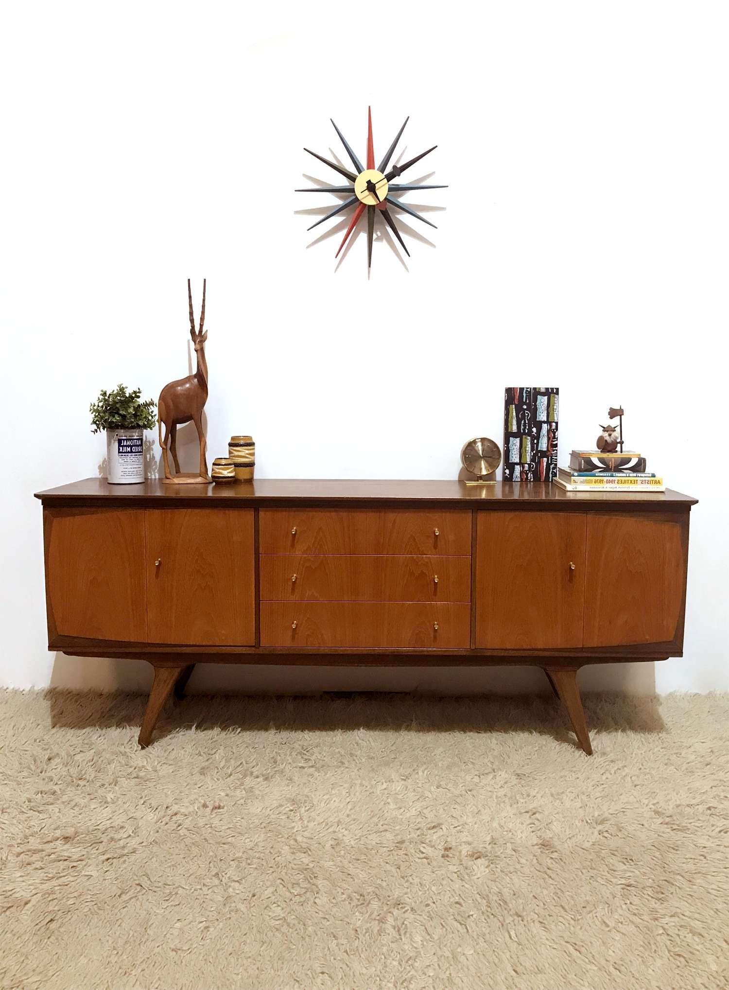 50S 60S Outstanding Mid Century Vintage Bi Folding Doors Sideboard For 50S Sideboards (View 5 of 20)