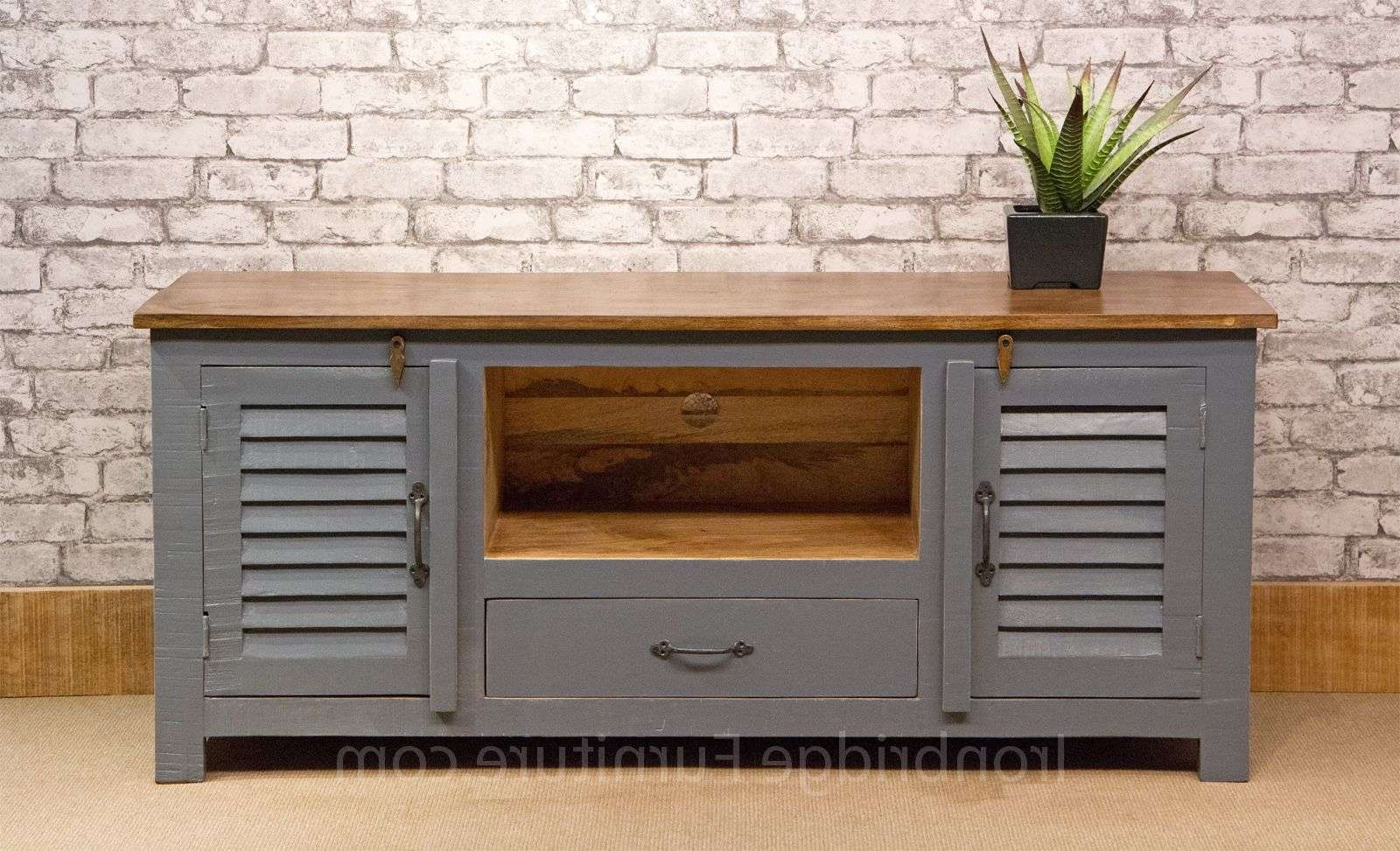 518 Vintage Style Painted Long Tv Cabinet – Dusky Grey Pertaining To Vintage Style Tv Cabinets (View 2 of 20)