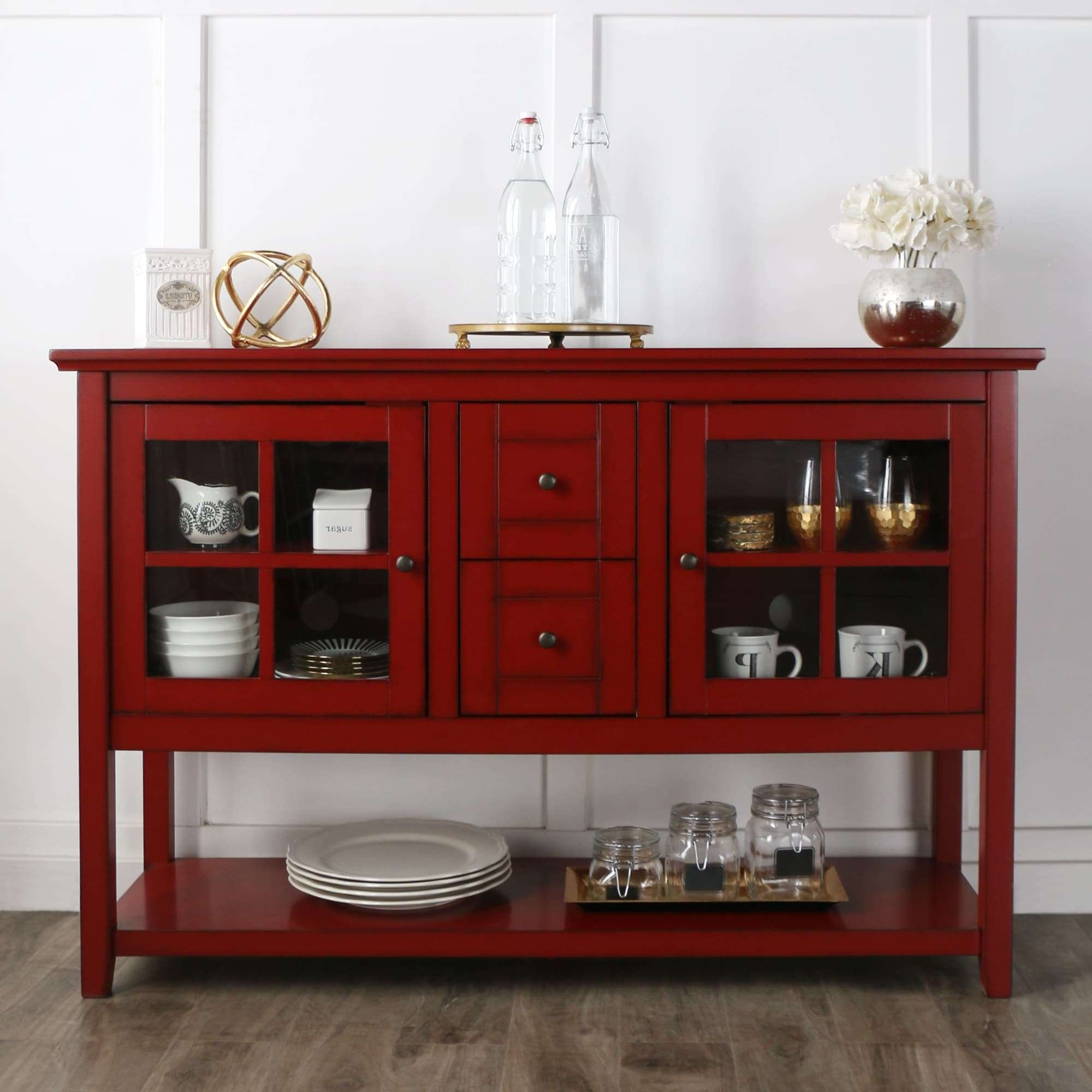 52 Inch Antique Red Wood Console Table/ Buffet – Free Shipping Pertaining To Red Sideboards Buffets (View 1 of 20)