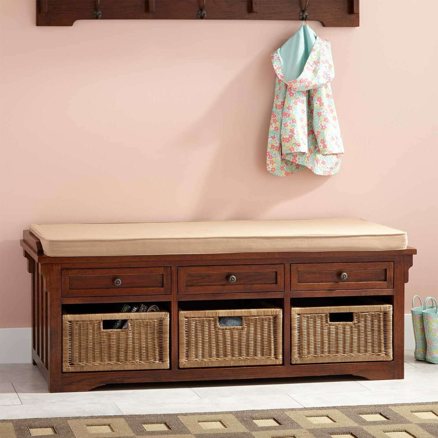 "53"" Mission Style Oak Entryway Bench – Home Accents With Regard To Mission Style Sideboards (View 1 of 20)"