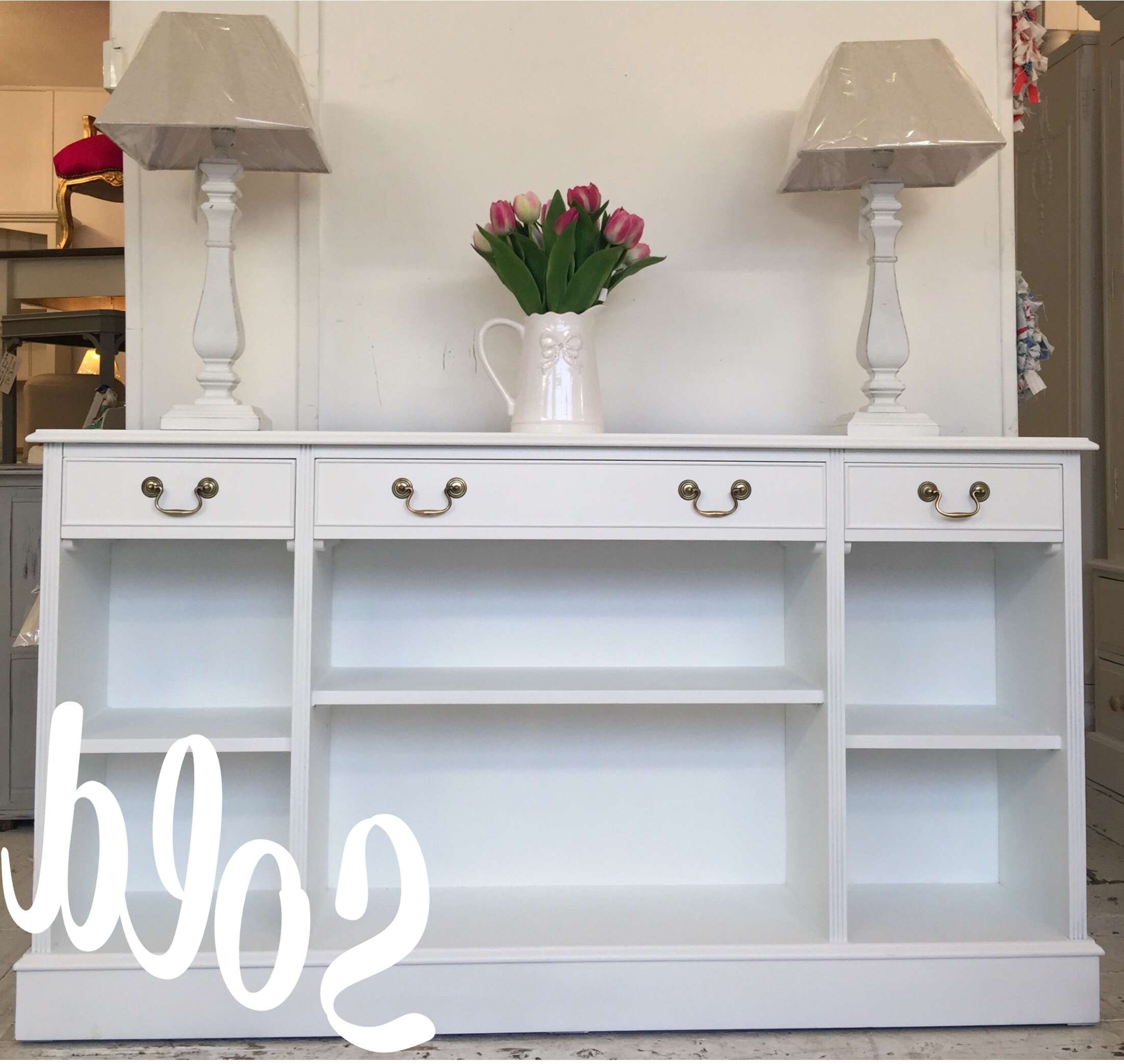 5Ft 'all White' Shallow Sideboard – Bookcase – Home Sweet Homehome In Shallow Sideboards (Gallery 10 of 20)