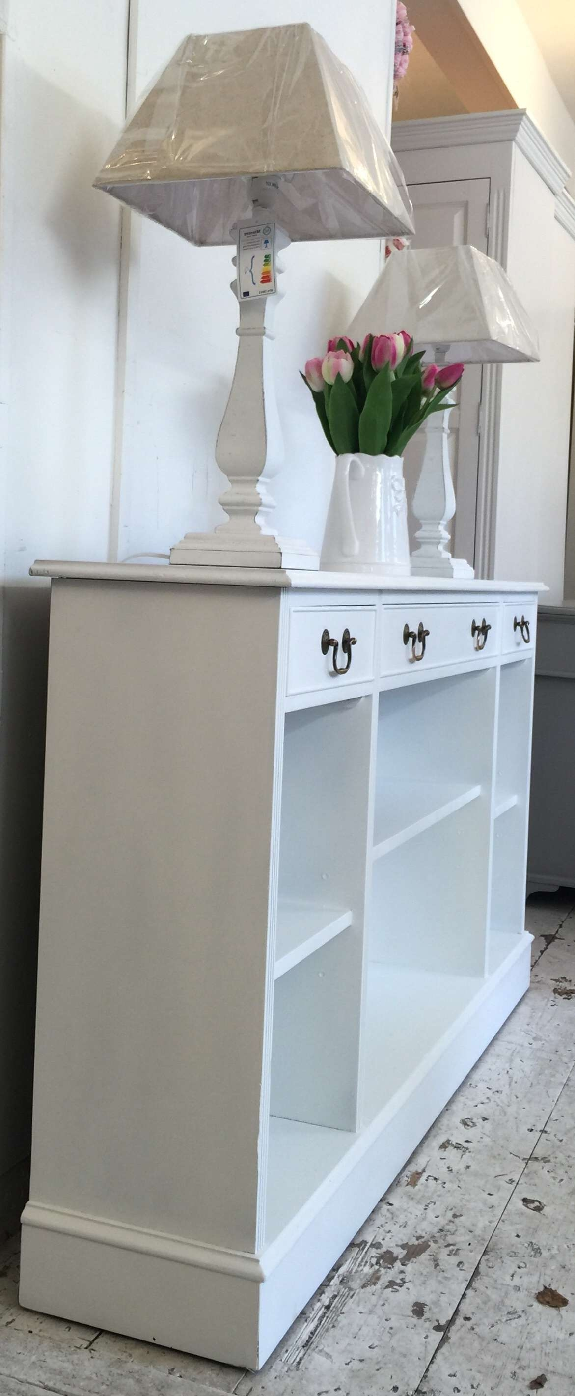 5Ft 'all White' Shallow Sideboard – Bookcase – Home Sweet Homehome With Regard To Shallow Sideboards (Gallery 3 of 20)