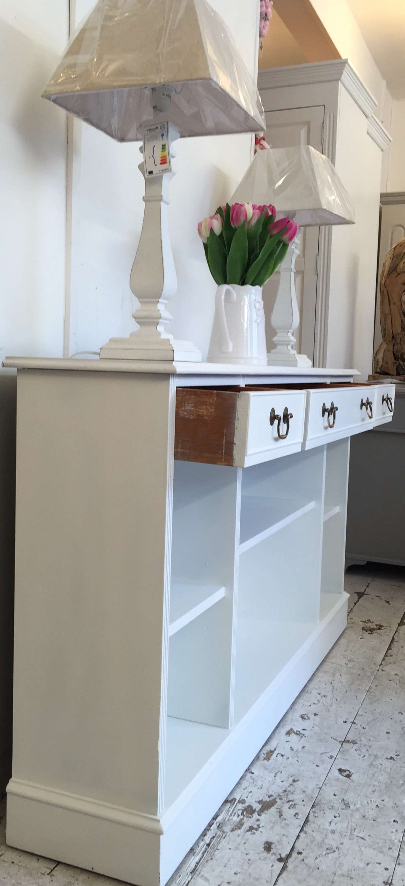5Ft 'all White' Shallow Sideboard – Bookcase – Home Sweet Homehome With Regard To Shallow Sideboards (Gallery 2 of 20)
