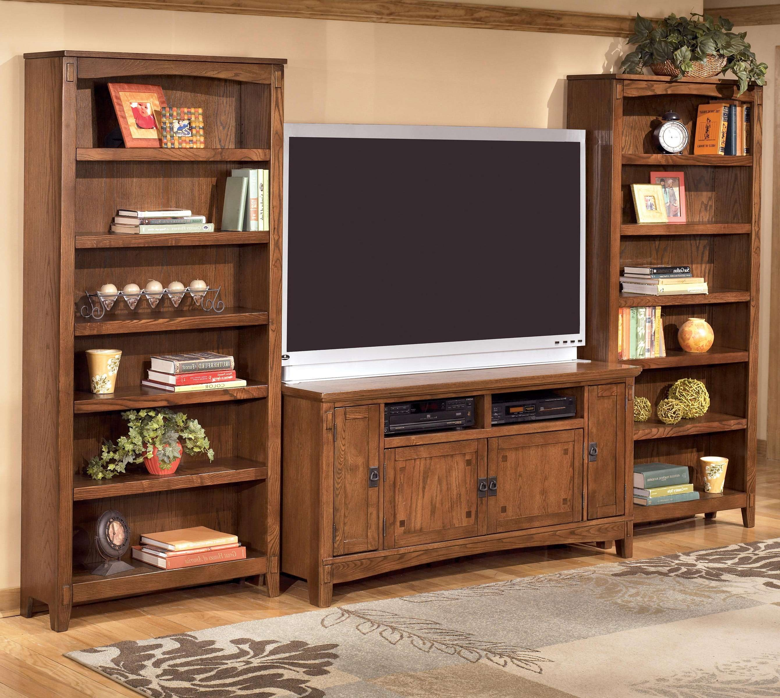60 Inch Tv Stand & 2 Large Bookcasesashley Furniture | Wolf For Tv Cabinets And Bookcase (Gallery 2 of 20)