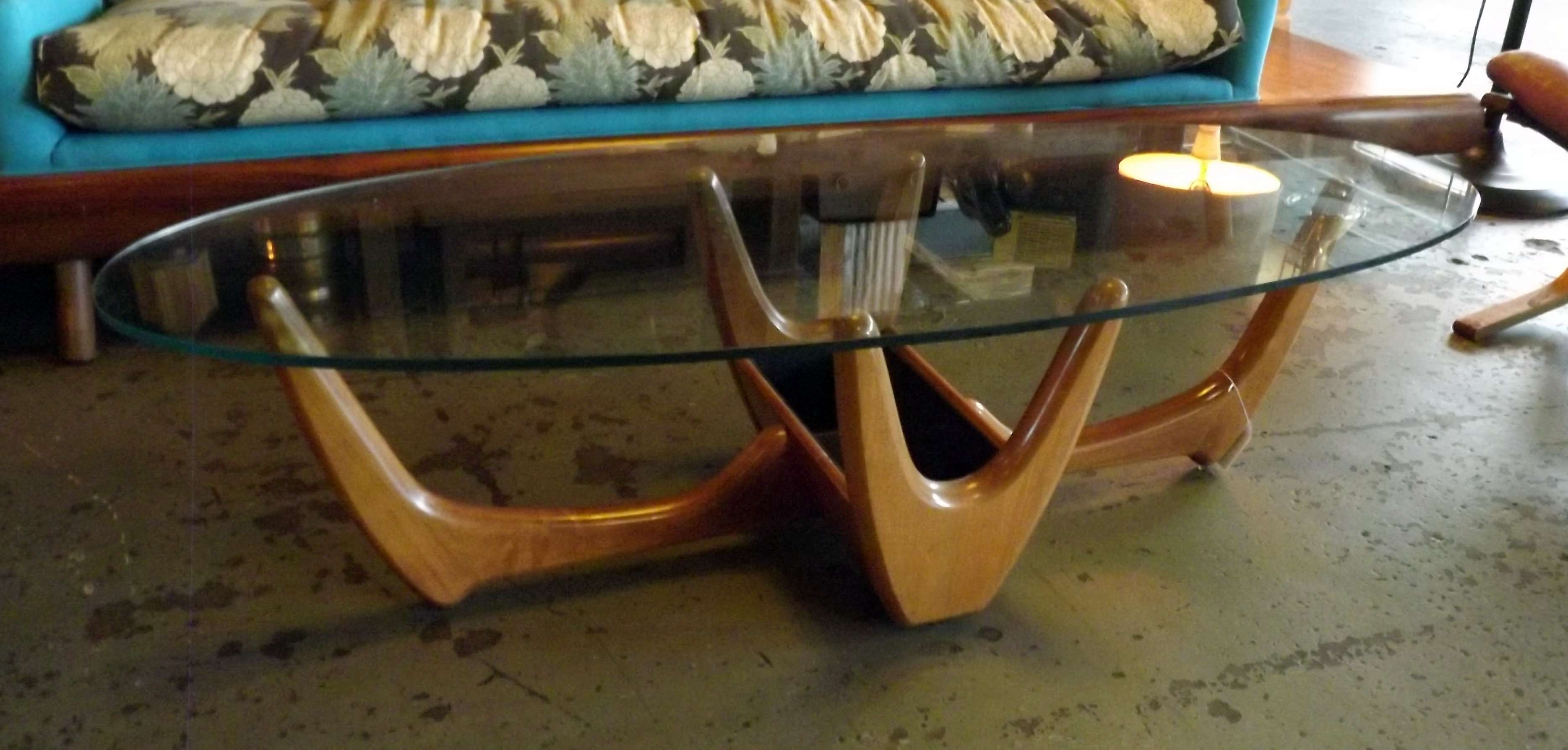 60S Coffee Table W Planter And Oval Glass Top – Salvage One With Regard To 2017 Sixties Coffee Tables (Gallery 9 of 20)