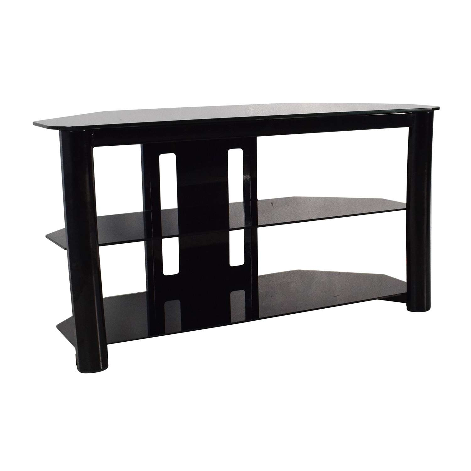 61% Off – Best Buy Best Buy Black Glass Tv Stand / Storage With Regard To Black Glass Tv Cabinets (View 2 of 20)