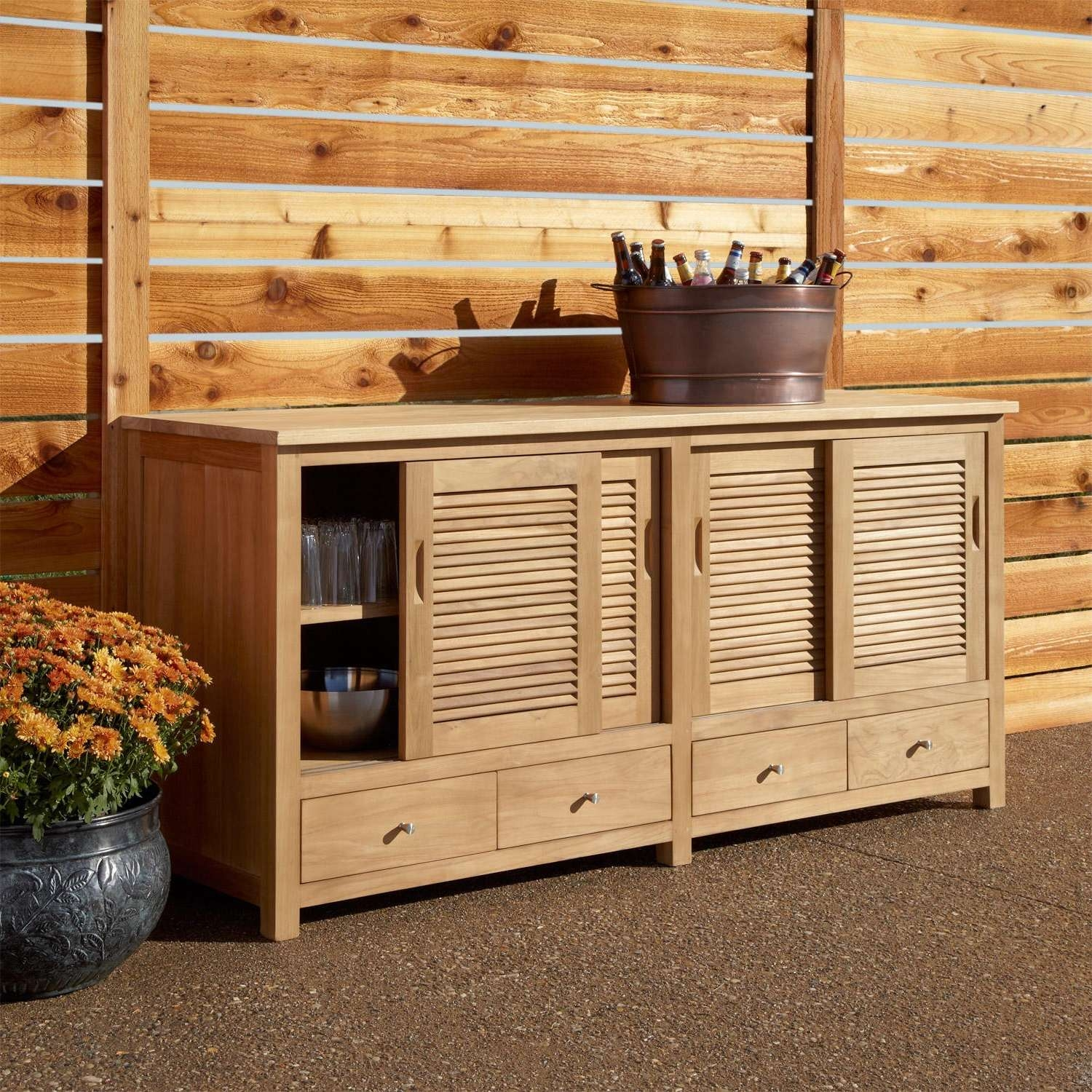 "72"" Touraine Teak Outdoor Kitchen Cabinet – Outdoor In Outdoor Sideboards Cabinets (Gallery 2 of 20)"
