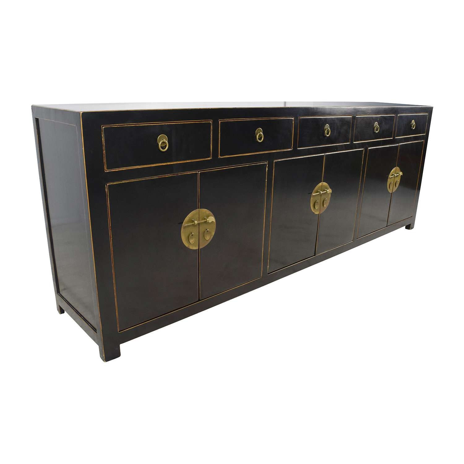 85% Off – Custom Made Black Drawer And Cabinet Sideboard / Storage Inside Black Sideboards Cabinets (Gallery 4 of 20)