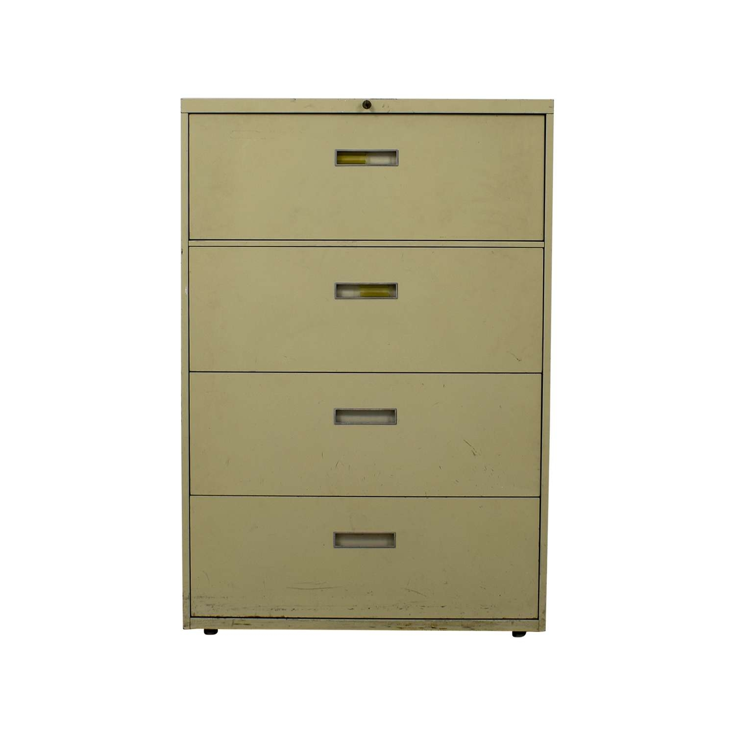 85% Off – Four Drawer Tan Lateral File Cabinet / Storage Regarding Green Sideboards (Gallery 5 of 20)