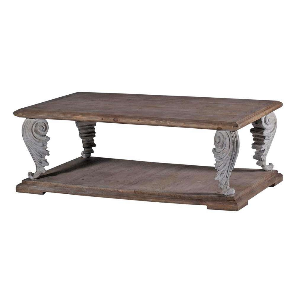 Acanto French Country Acanthus Leaf Reclaimed Wood Coffee Table With Regard To Popular French Country Coffee Tables (View 1 of 20)