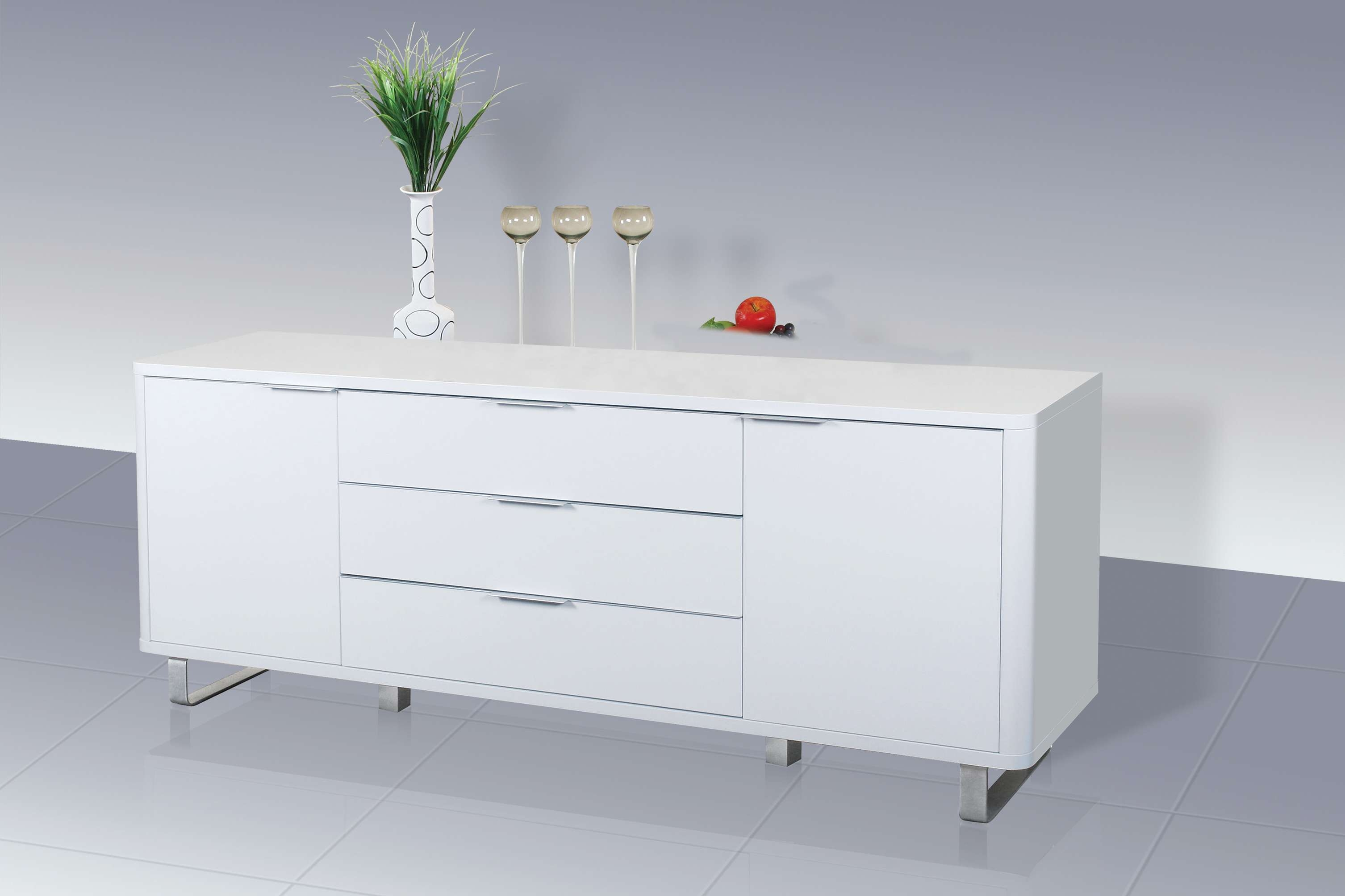 Accent Sideboard – High Gloss White – Lpd Furniture With White Gloss Ikea Sideboards (View 1 of 20)