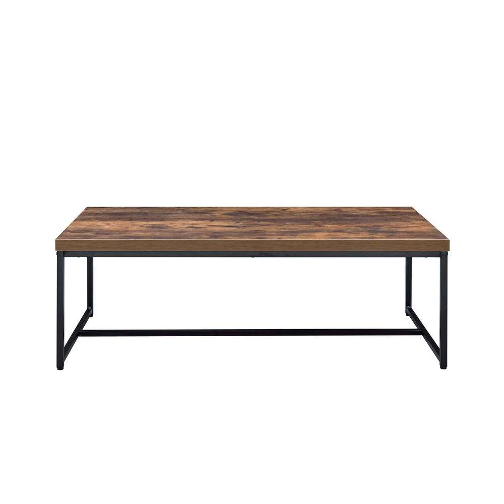 Acme Furniture Bob Weathered Oak And Black Coffee Table 80615 Regarding Latest Black Coffee Tables (View 4 of 20)