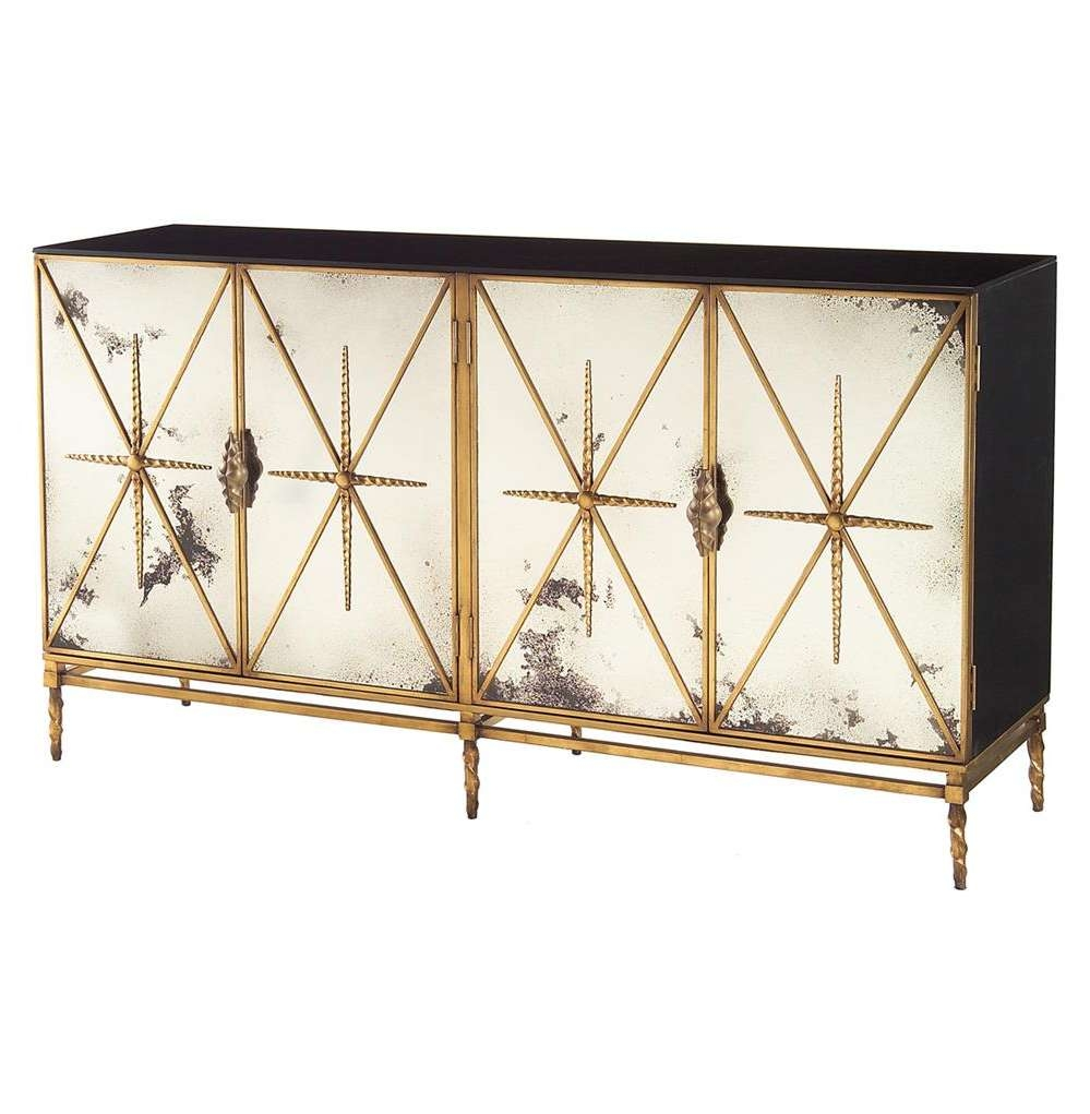 Adalyn Hollywood Regency Antique Mirror Gold Black 4 Door Throughout Gold Sideboards (View 1 of 20)