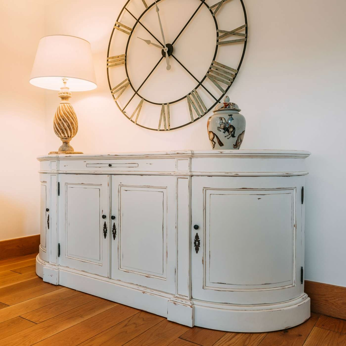 Aged French Distressed White Large Sideboard Furniture – La Maison Intended For Large Sideboards (View 4 of 20)