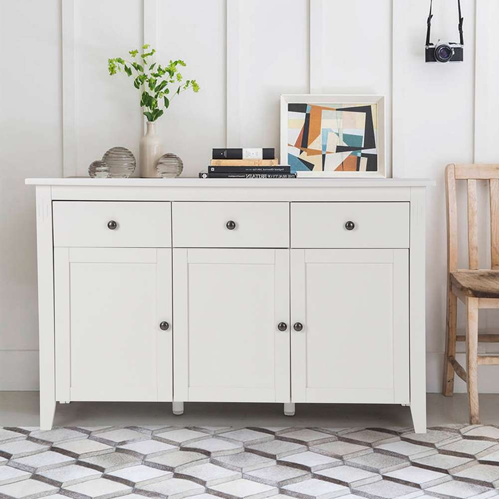 Aingoo Large Space White Minimalist Modern Sideboard/living Room Inside White Sideboards Cabinets (View 1 of 20)