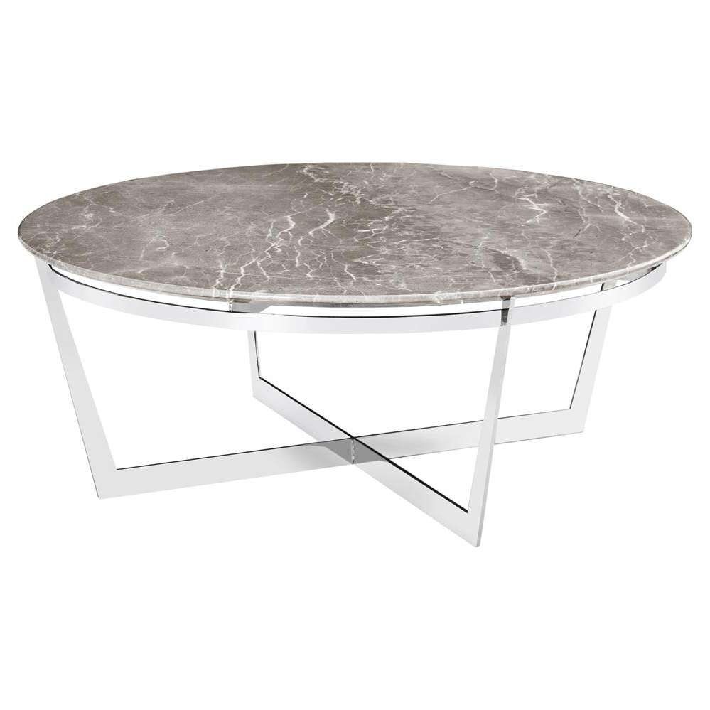 Alexys Grey Marble Round Steel Coffee Table (View 2 of 20)