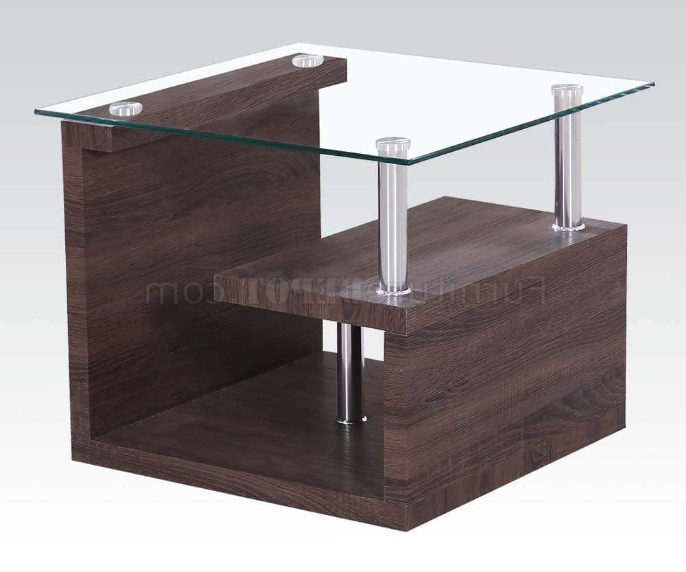 Alfie Coffee Table 3Pc Set In Dark Oakacme W/glass Top With Regard To Latest Glass And Oak Coffee Tables (View 2 of 20)