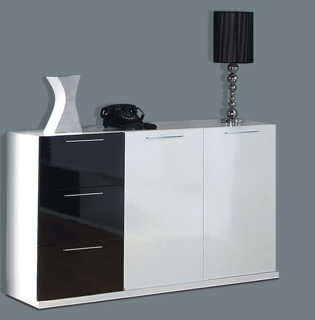 Alida Black And White Gloss Sideboard For Uk Gloss Sideboards (View 3 of 20)