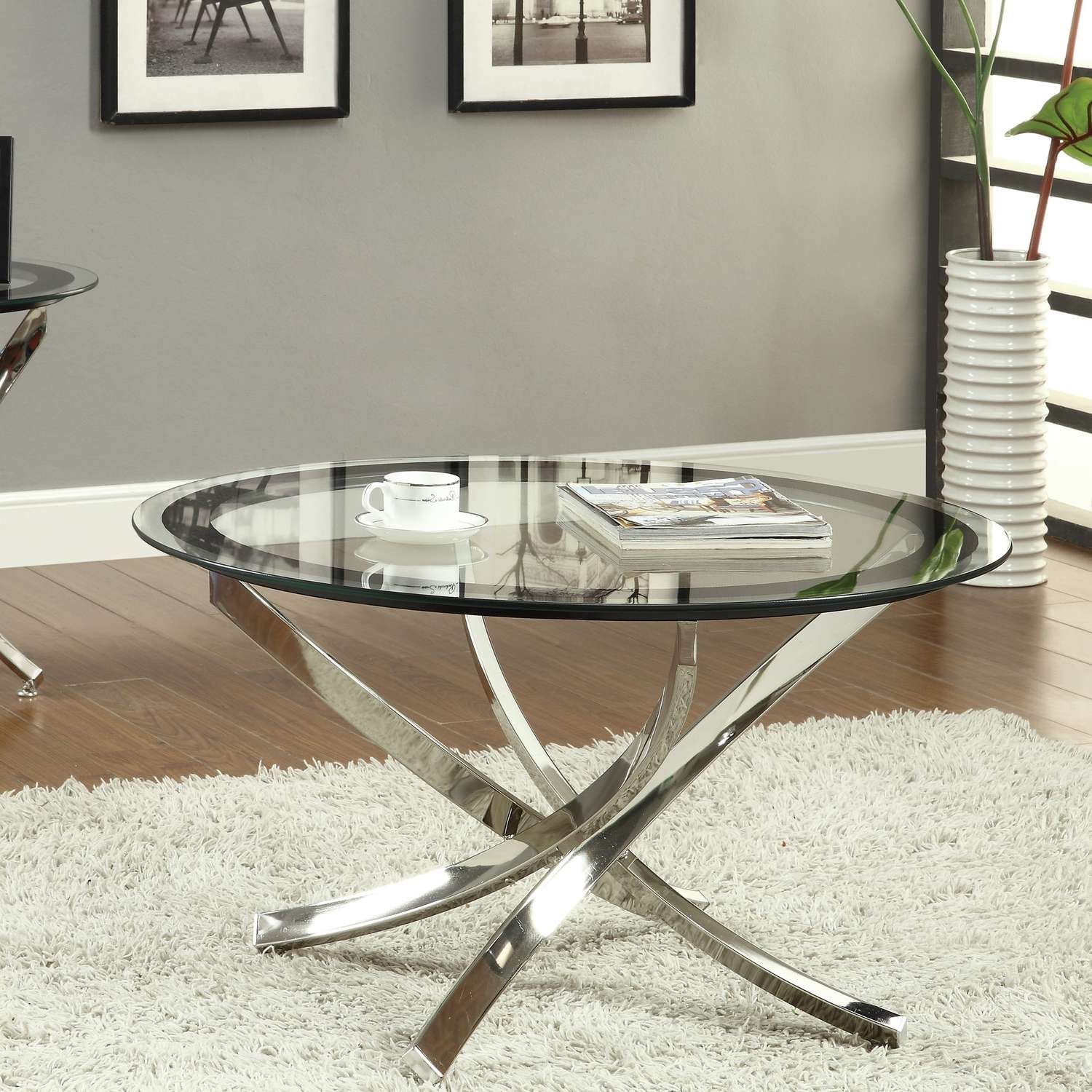 All Glass Pompidou Metal & Glass Coffee Table Large Table Regarding 2017 Coffee Tables Glass And Metal (View 16 of 20)