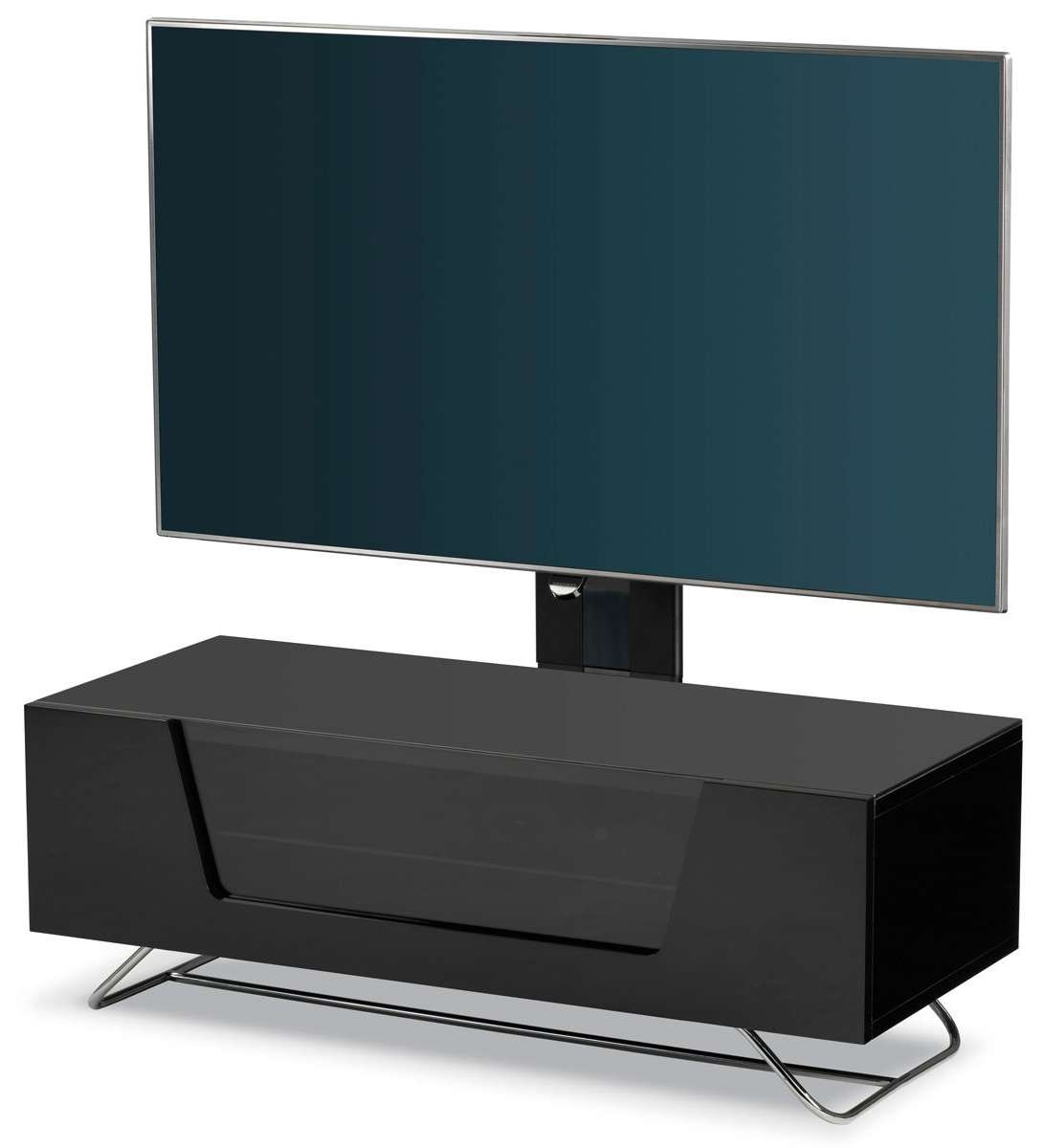 Alphason Chromium Black Cantilever Tv Stand Regarding Sonorous Tv Cabinets (View 1 of 20)
