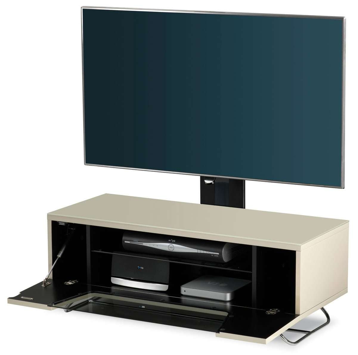 Alphason Chromium Ivory Cantilever Tv Stand Regarding Alphason Tv Cabinets (View 7 of 20)