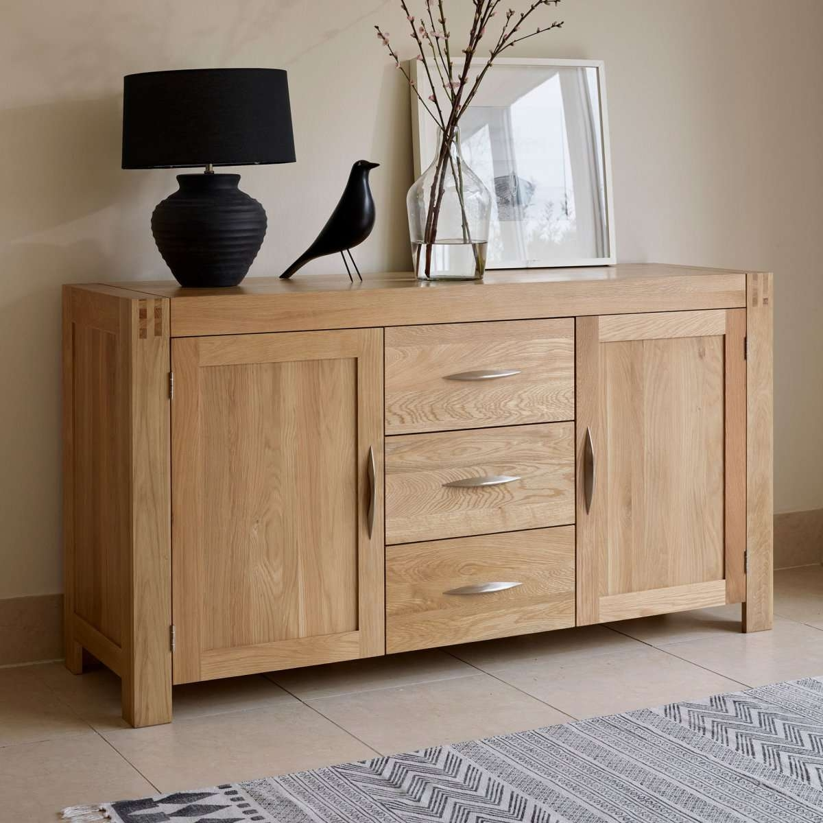 Alto Natural Solid Oak Large Sideboard | Oak Furniture Land In Cream And Oak Sideboards (View 1 of 20)