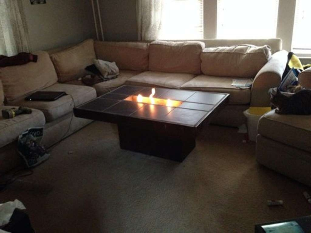 Amazing Indoor Fire Pit Coffee Table With Chenille L Shaped For Most Current L Shaped Coffee Tables (View 16 of 20)