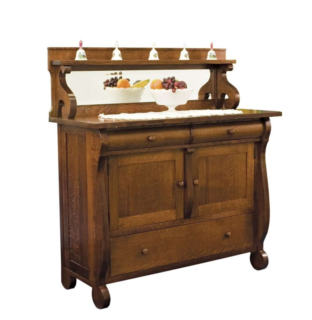 Amish Dining Room Sideboards Buffet Storage Cabinet Wood Antique Pertaining To Antique Oak Sideboards (View 15 of 20)