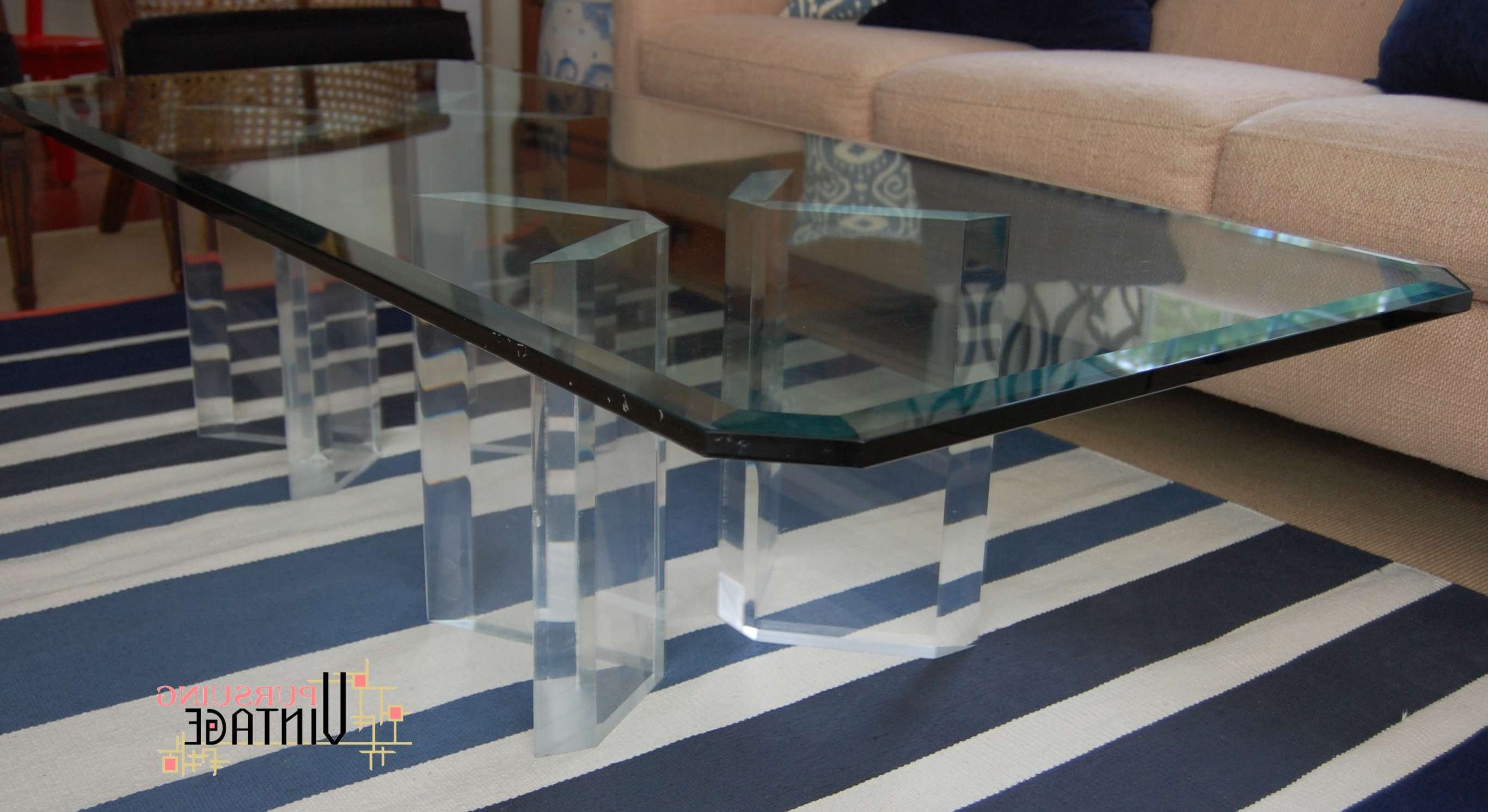 An Original Vintage Lucite And Glass Coffee Table Intended For Most Up To Date Thick Glass Coffee Table (Gallery 1 of 20)