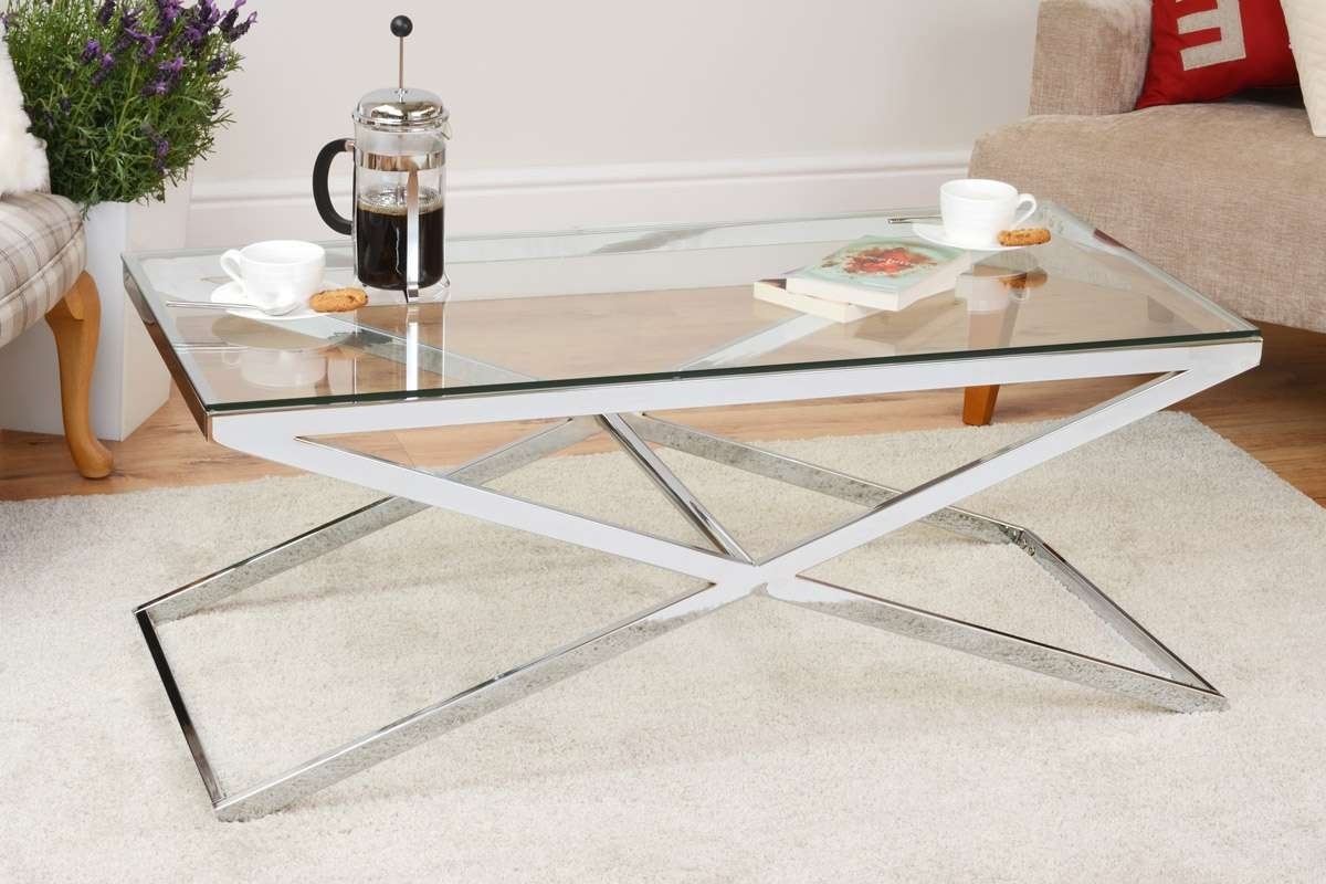 Anikka Coffee Table Chrome Stand Glass Top With Regard To Most Recent Glass And Chrome Coffee Tables (View 3 of 20)