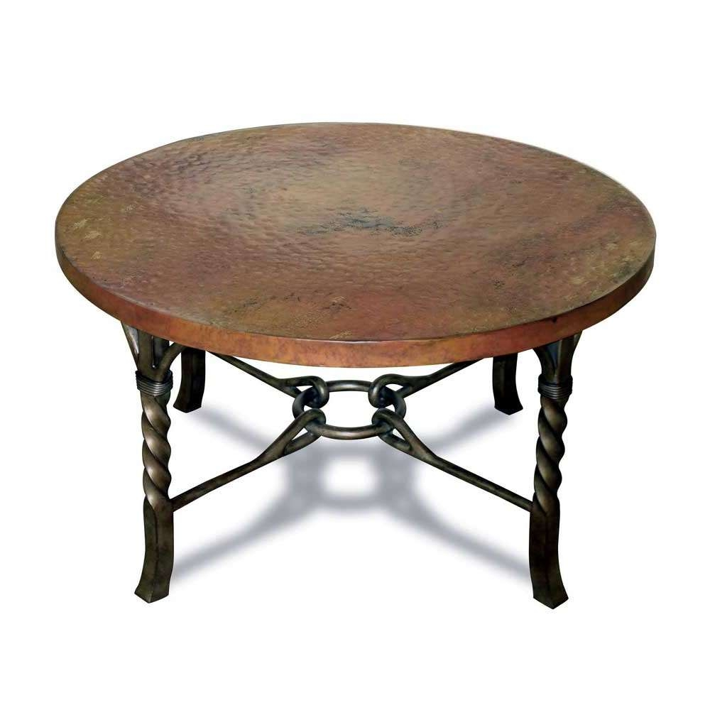 Antique And Vintage Round Metal Coffee Table With Brown Top And Regarding Well Liked Round Steel Coffee Tables (View 2 of 20)