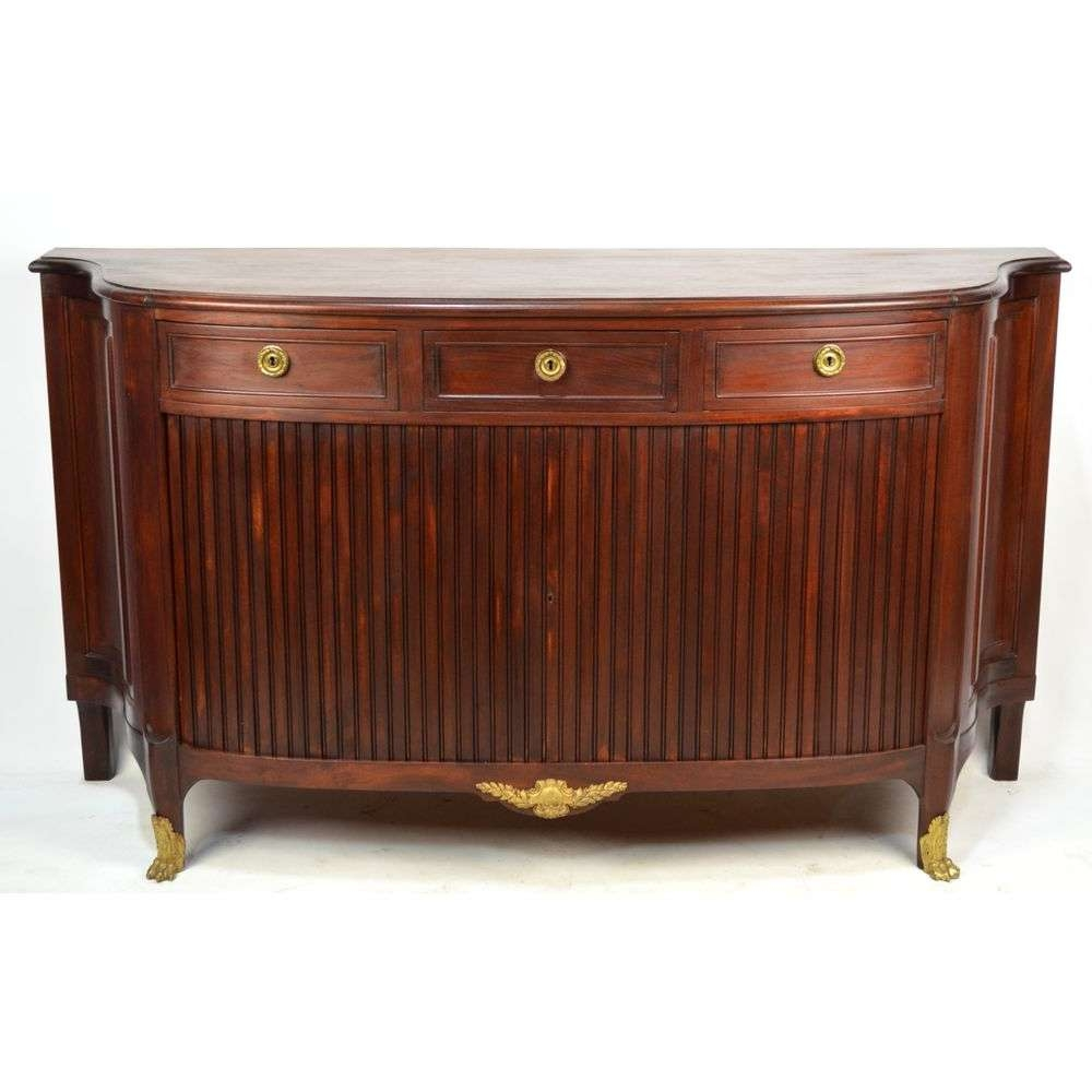 Antique French Ormulu Mounted Louis Xvi Mahogany Tambore Door Pertaining To French Country Sideboards (View 3 of 20)