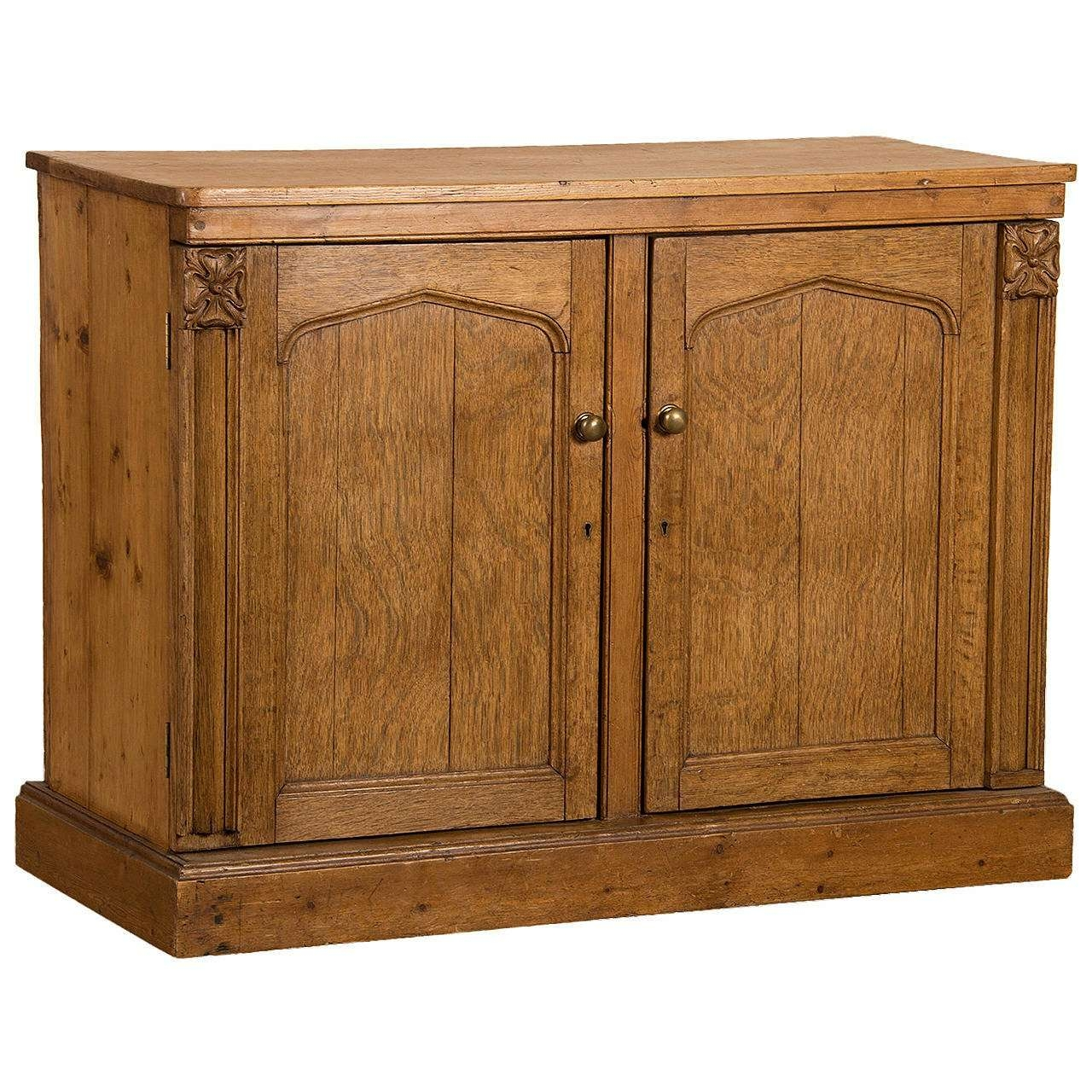 Antique Irish Gothic Revival Oak And Pine Buffet Cabinet Circa With Regard To Jacobean Sideboards Buffets (View 5 of 20)