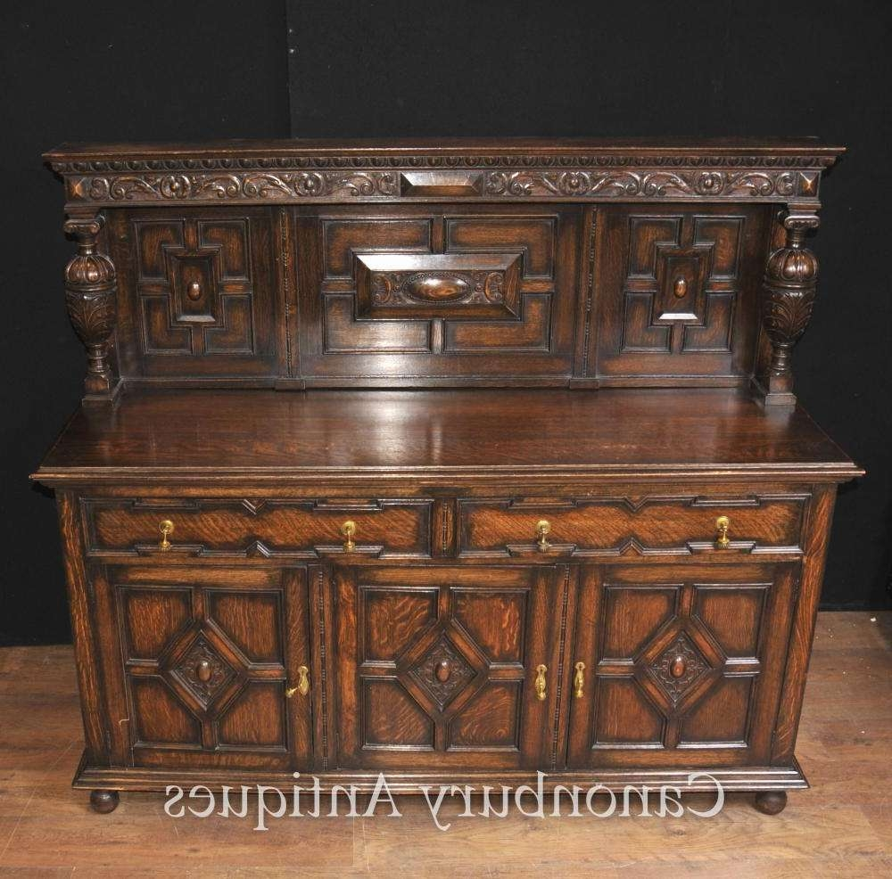 Antique Oak Jacobean Sideboard Server Buffet Kitchen Furniture With Jacobean Sideboards Buffets (View 3 of 20)