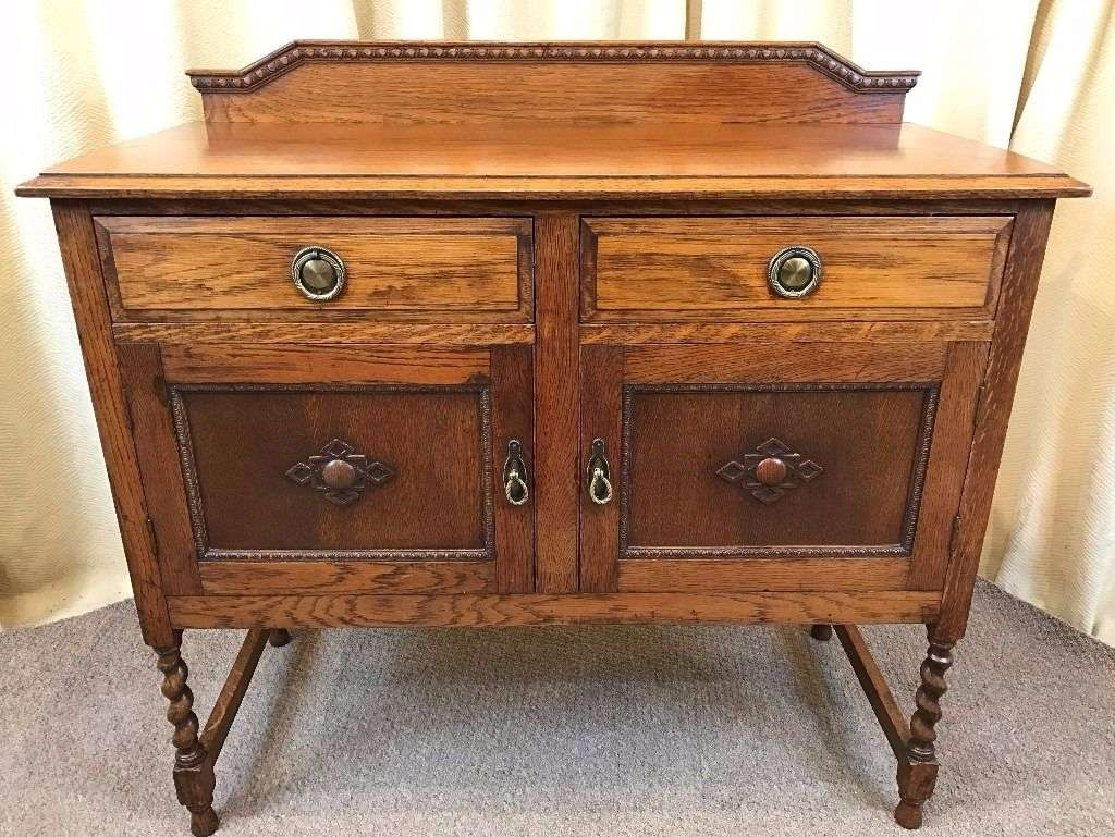 Antique Oak Sideboard 1920's 30's Barley Twist Drinks Cabinet | In Intended For Antique Oak Sideboards (View 7 of 20)