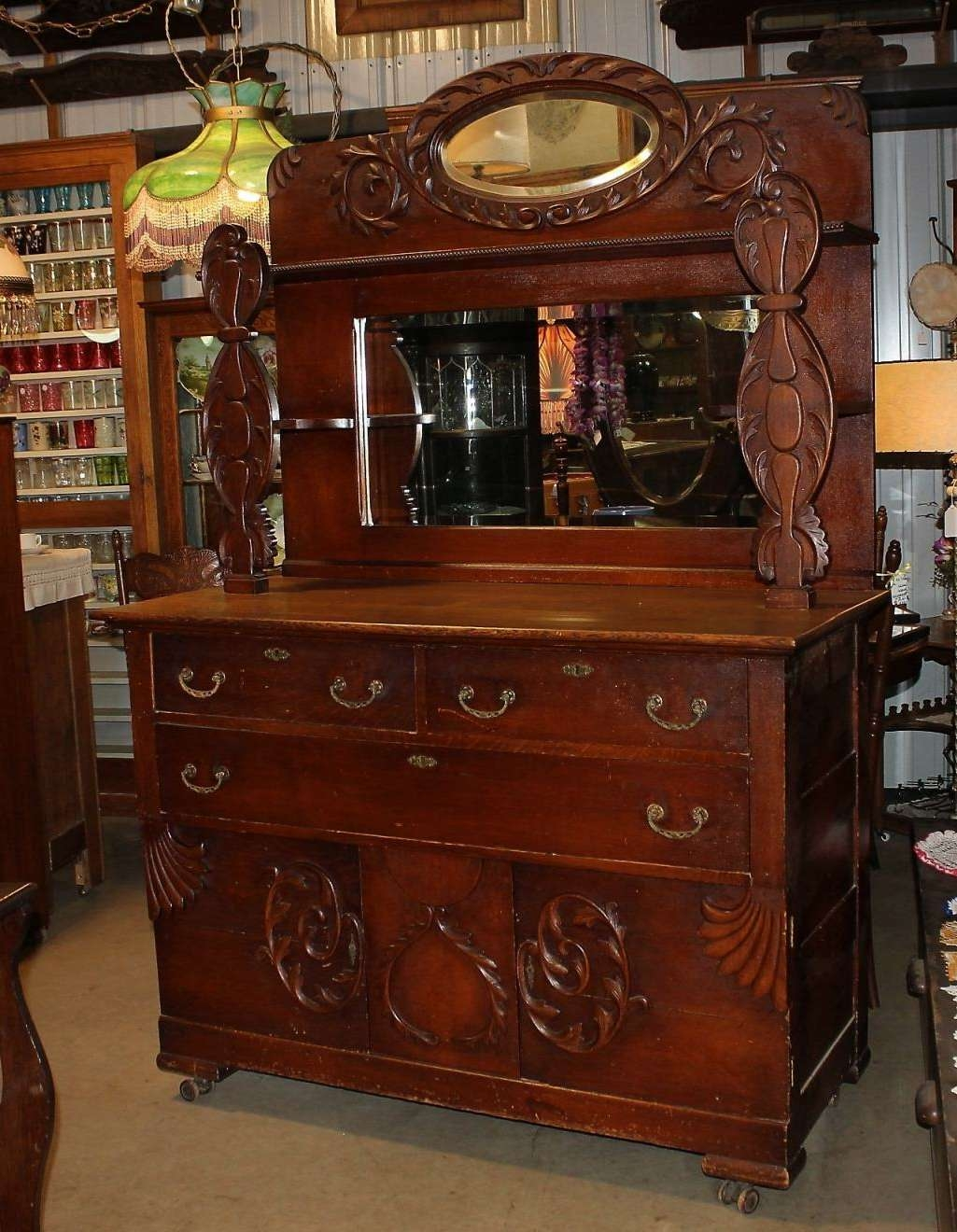 Antique Oak Sideboard With Mirror | Lcd Enclosure Inside Antique Sideboards With Mirror (View 2 of 20)