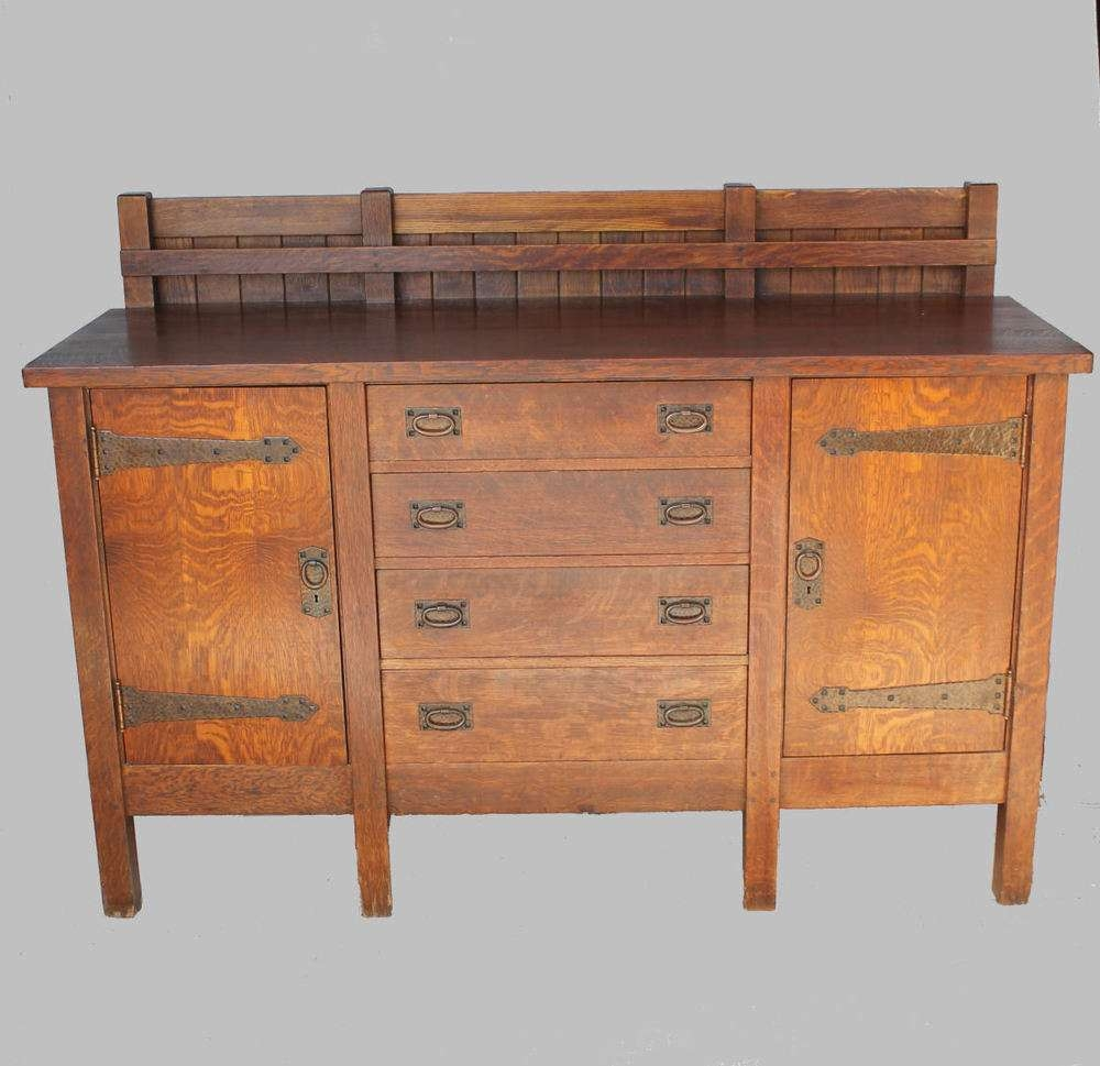 Antique Rare Gustav Stickley Eight Legged Mission Oak Sideboard Regarding Jacobean Sideboards Buffets (View 6 of 20)