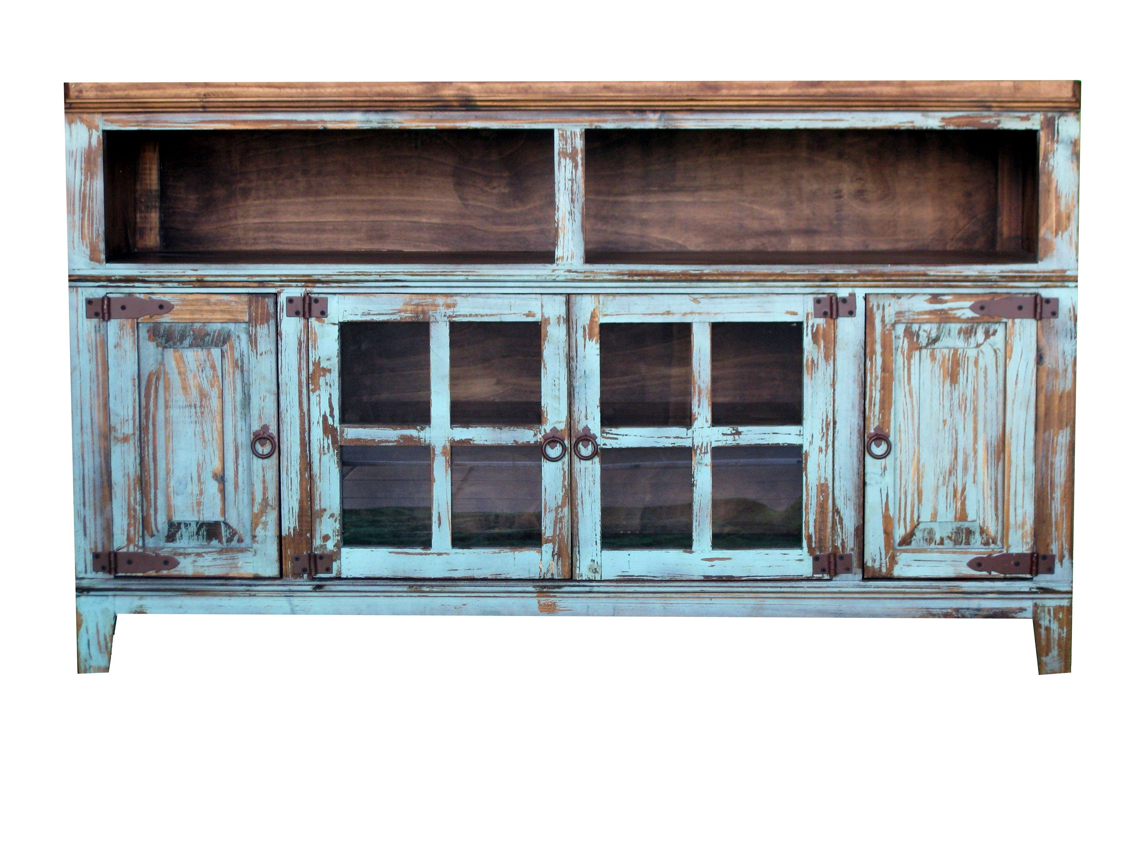 Antique Turquoise Tv Stand Texas Rustic Wholesale Pine Furniture With Regard To Rustic Tv Cabinets (View 1 of 20)
