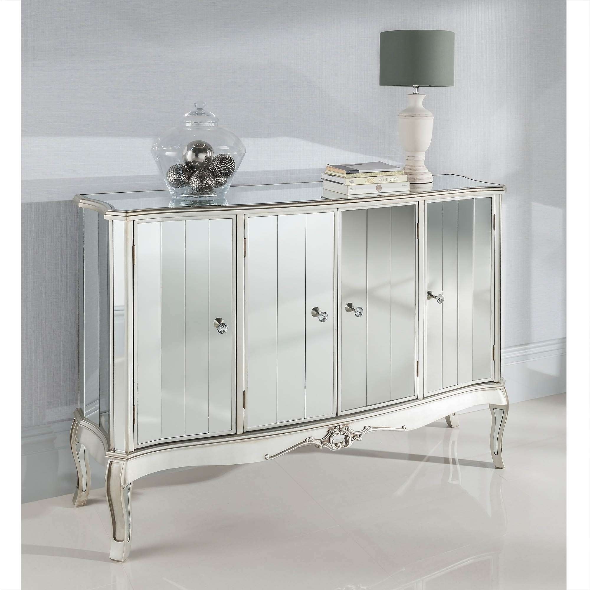 Argente Mirrored Four Door Sideboard | Mirrored Furniture With Black And Silver Sideboards (View 2 of 20)