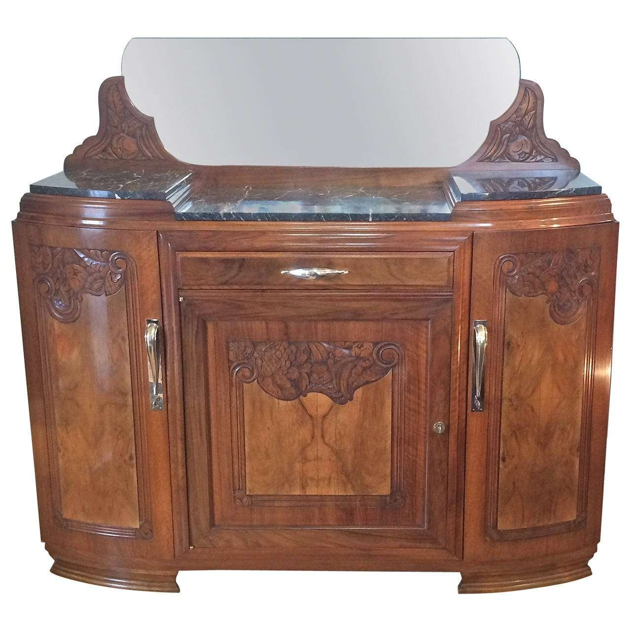 Art Deco French Walnut Sideboard With Marble Top At 1stdibs Inside Marble Top Sideboards (View 8 of 20)