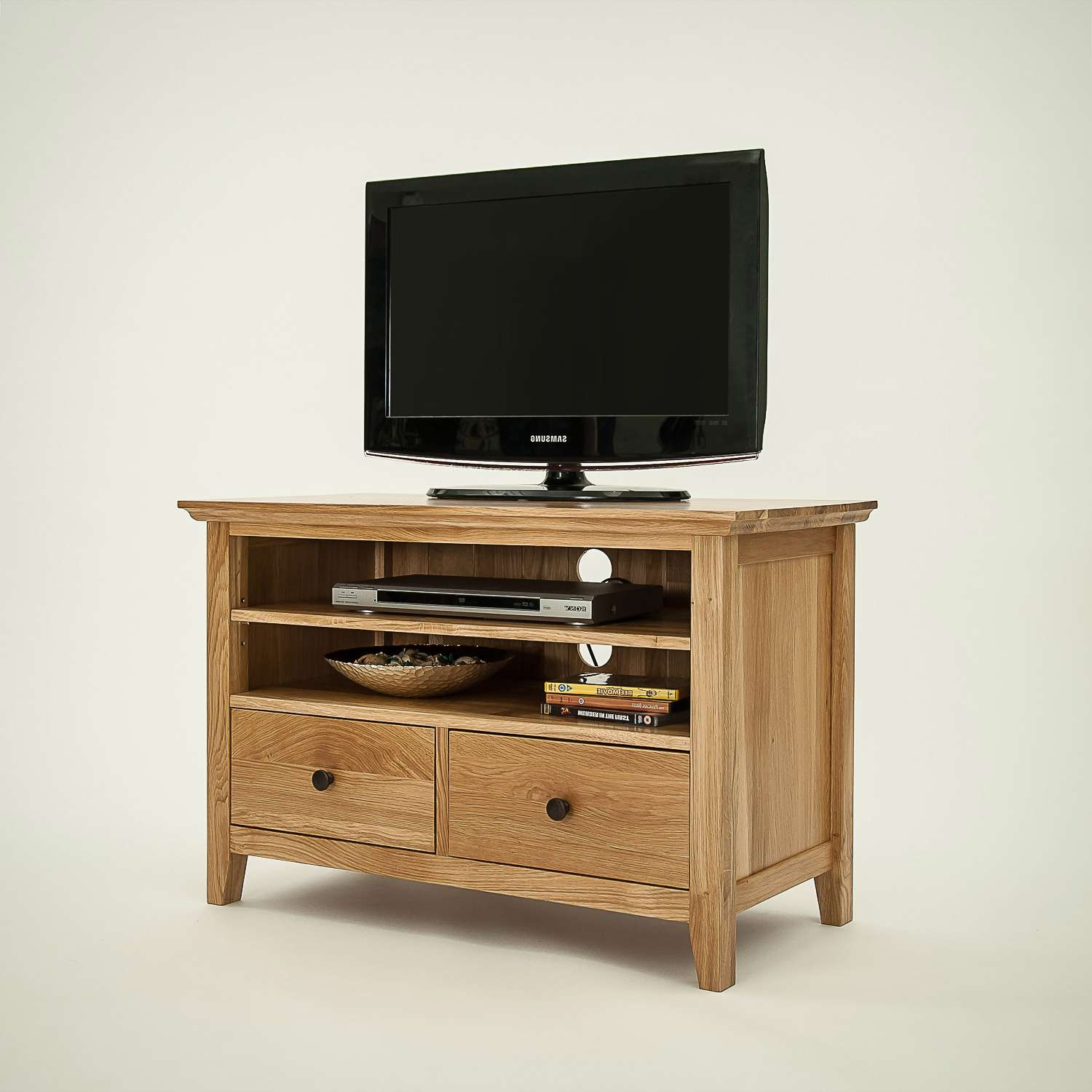Artisan Rustic Oak Small Tv Cabinet | Hampshire Furniture Throughout Oak Tv Cabinets (View 19 of 20)