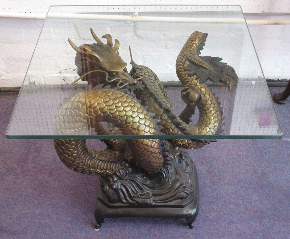Awesome Artistic Gold Dragon Coffee Table With Rectangle Glass Top With Regard To  Most Recently Released Dragon