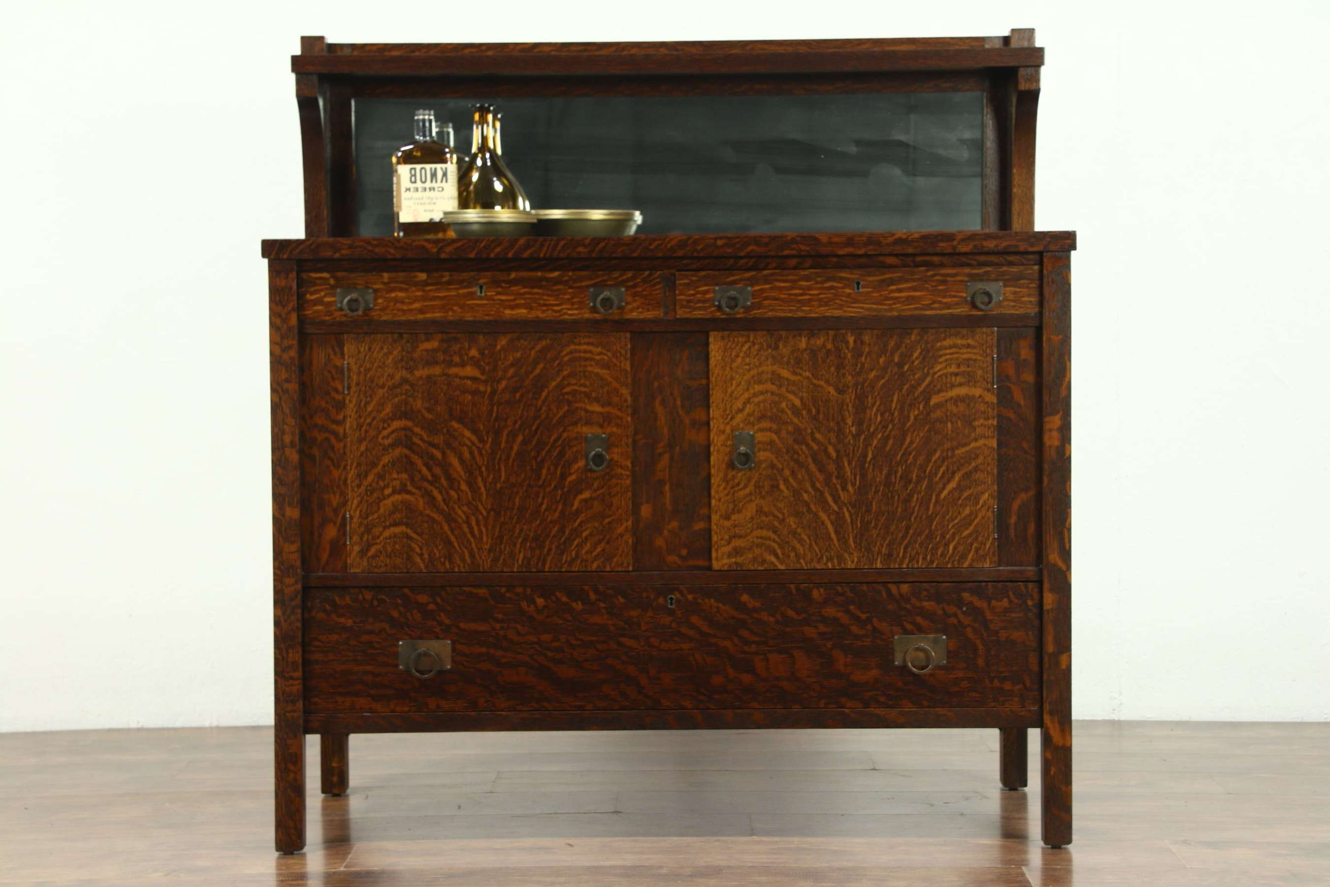 Arts And Crafts Mission Oak 1905 Antique Craftsman Sideboard Intended For Mission Sideboards (View 13 of 20)