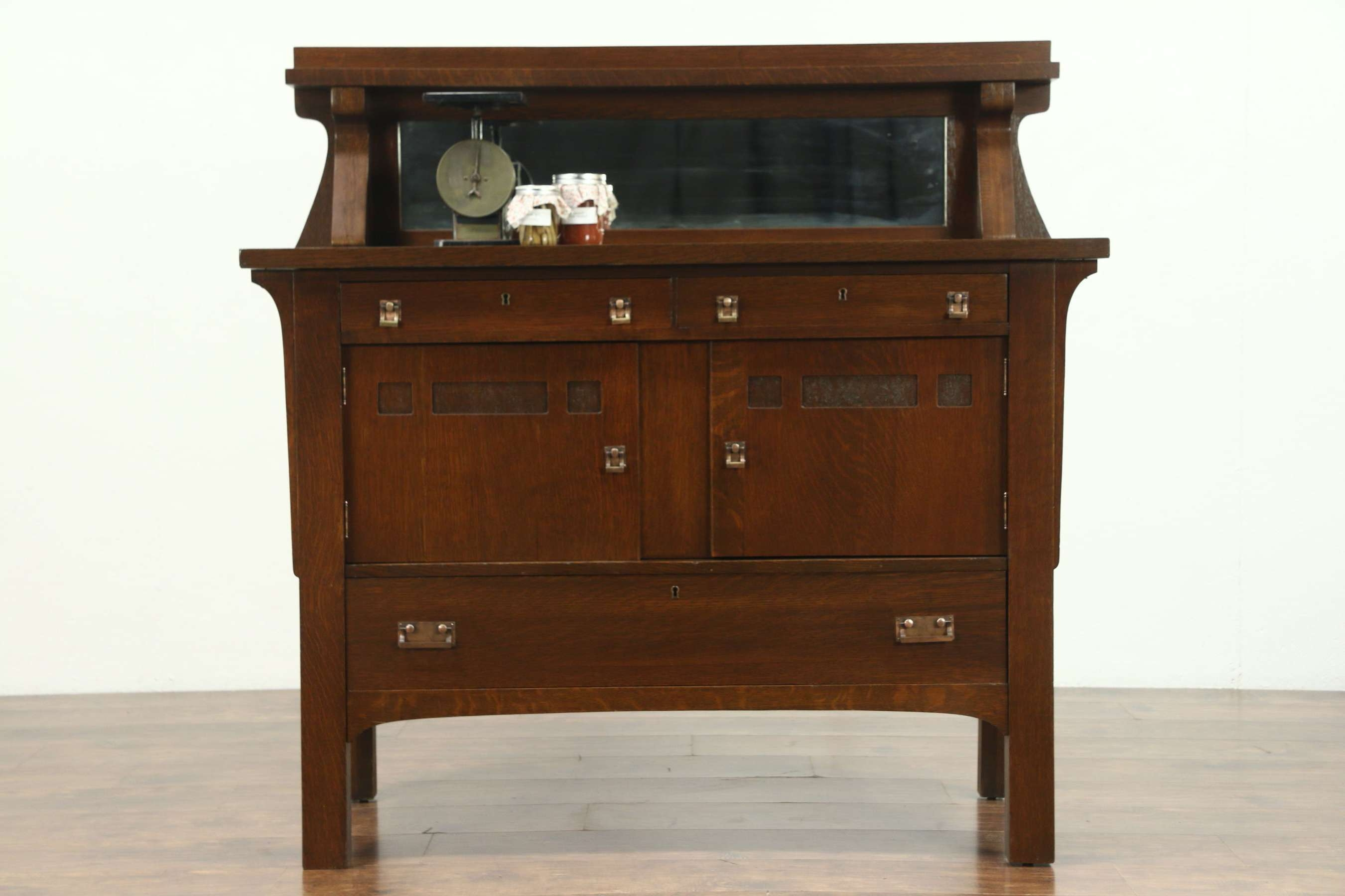 Arts & Crafts Mission Oak Antique Sideboard Server Or Craftsman Pertaining To Antique Sideboards With Mirror (View 12 of 20)