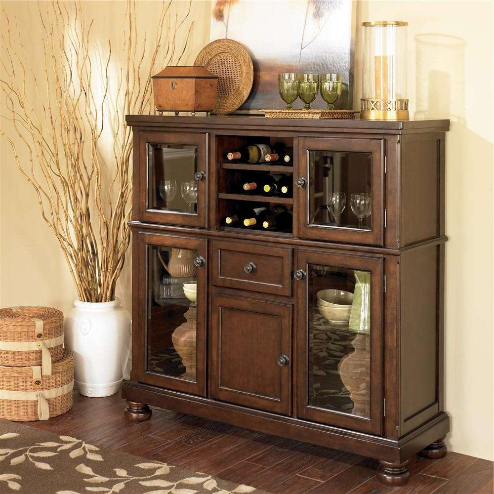 Ashley Furniture Porter Server With Storage Cabinet | Wayside Inside Server Sideboards Furniture (Gallery 9 of 20)