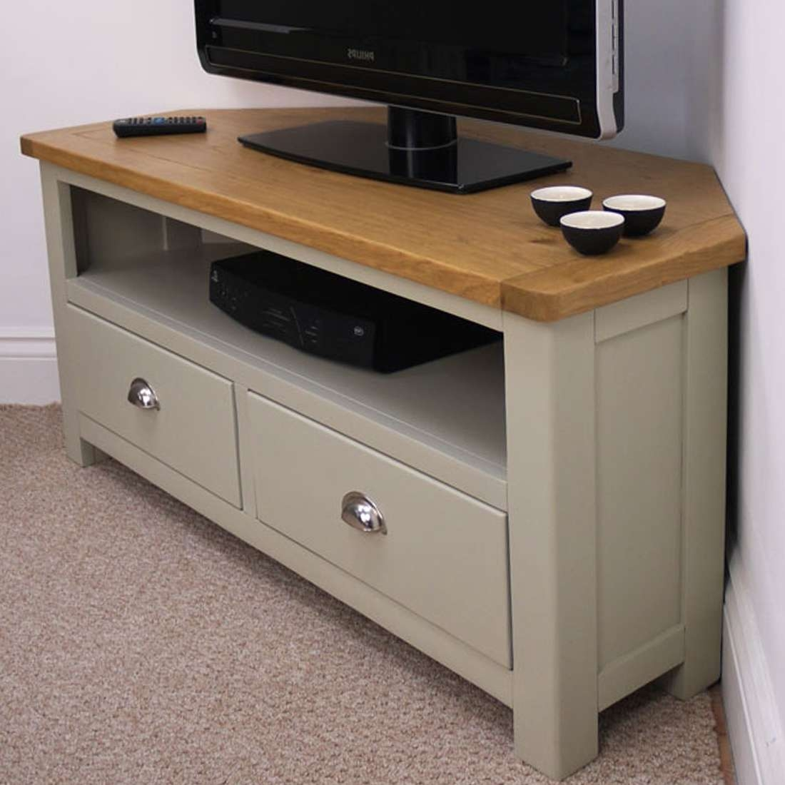 Aspen Oak Corner Tv Unit / Painted Tv Stand / Sage Grey With Oak Pertaining To Dark Wood Corner Tv Cabinets (View 11 of 20)